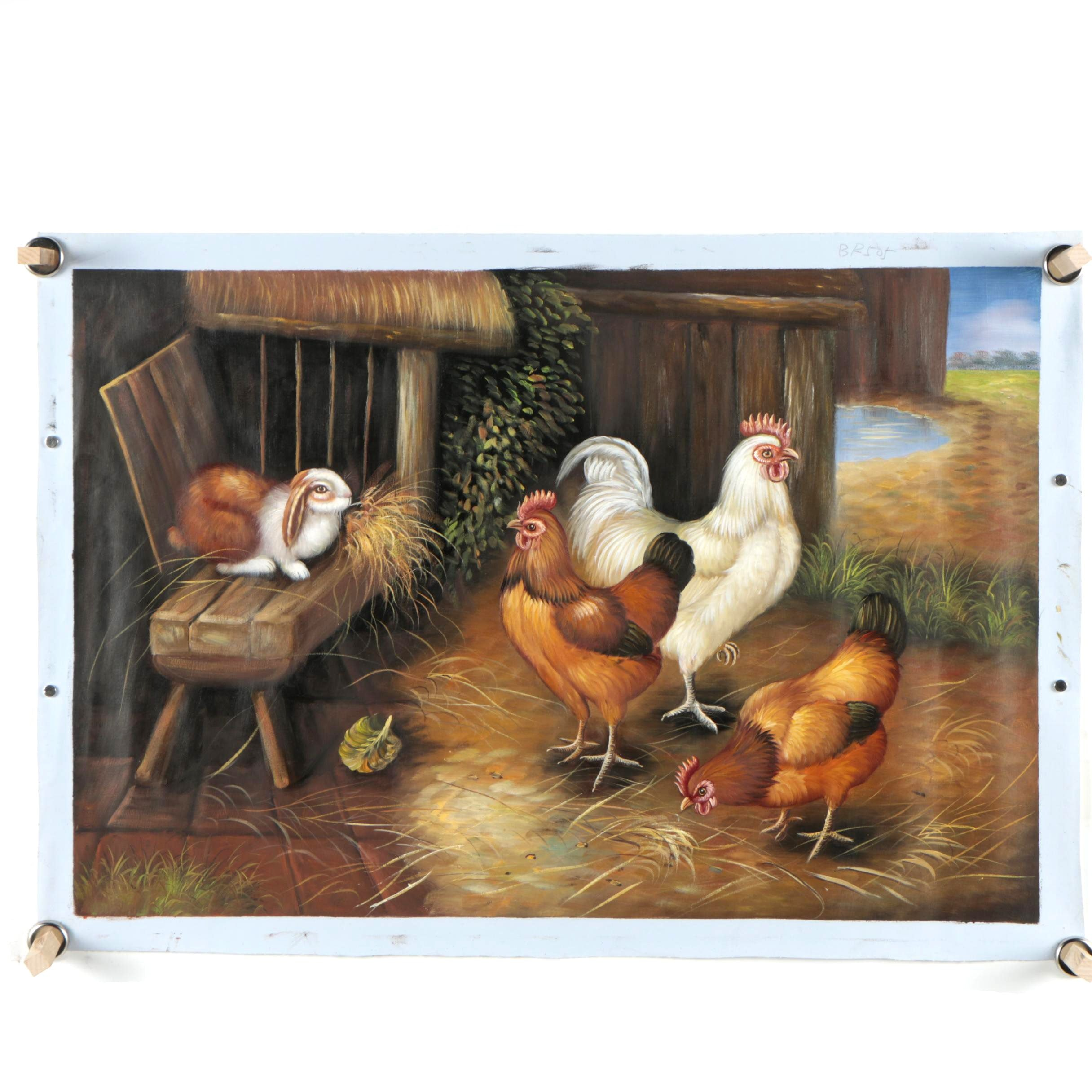 Oil Painting of a Barnyard