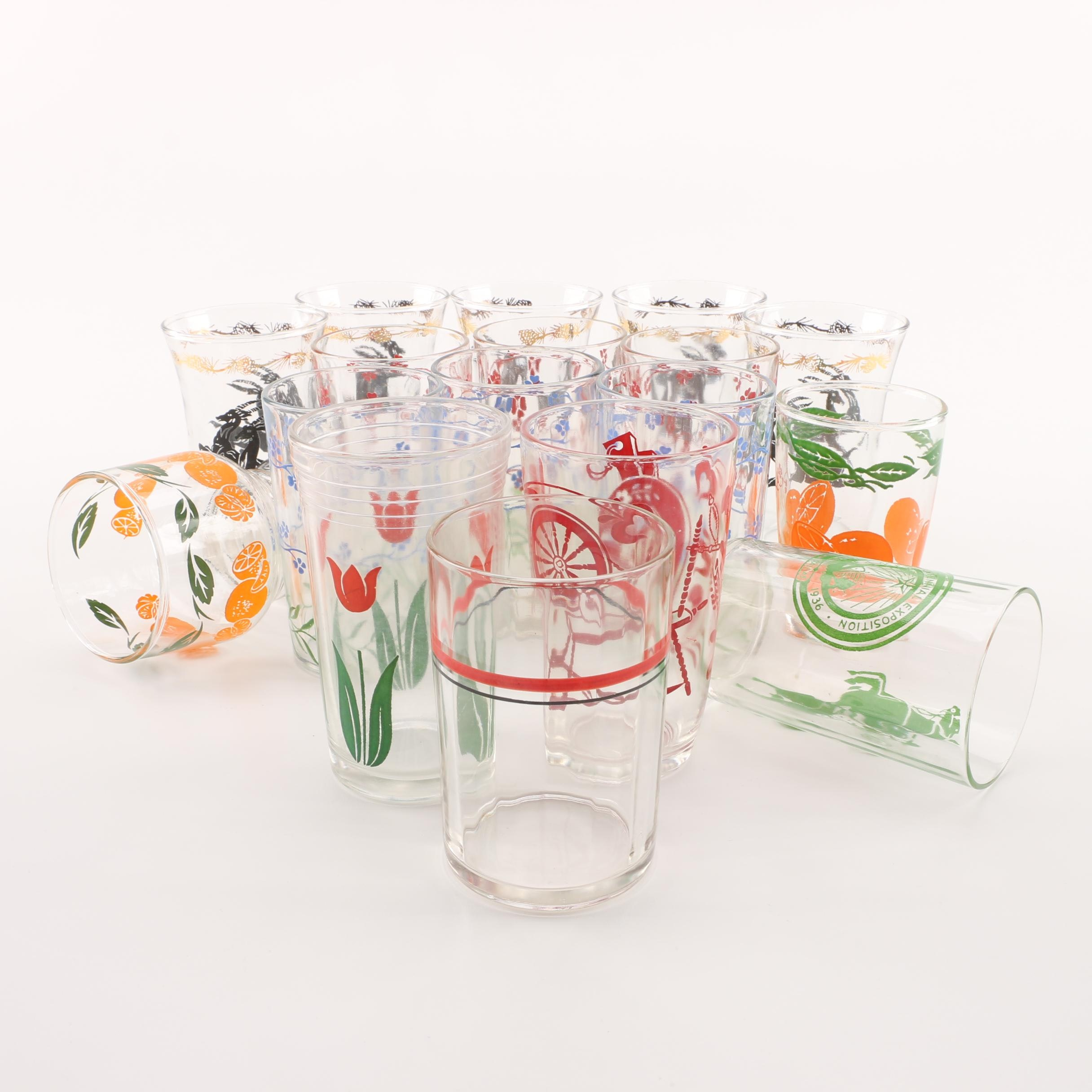 Vintage Swanky Swig Glasses Decorated with Colorful Fruit, Flowers and Deer