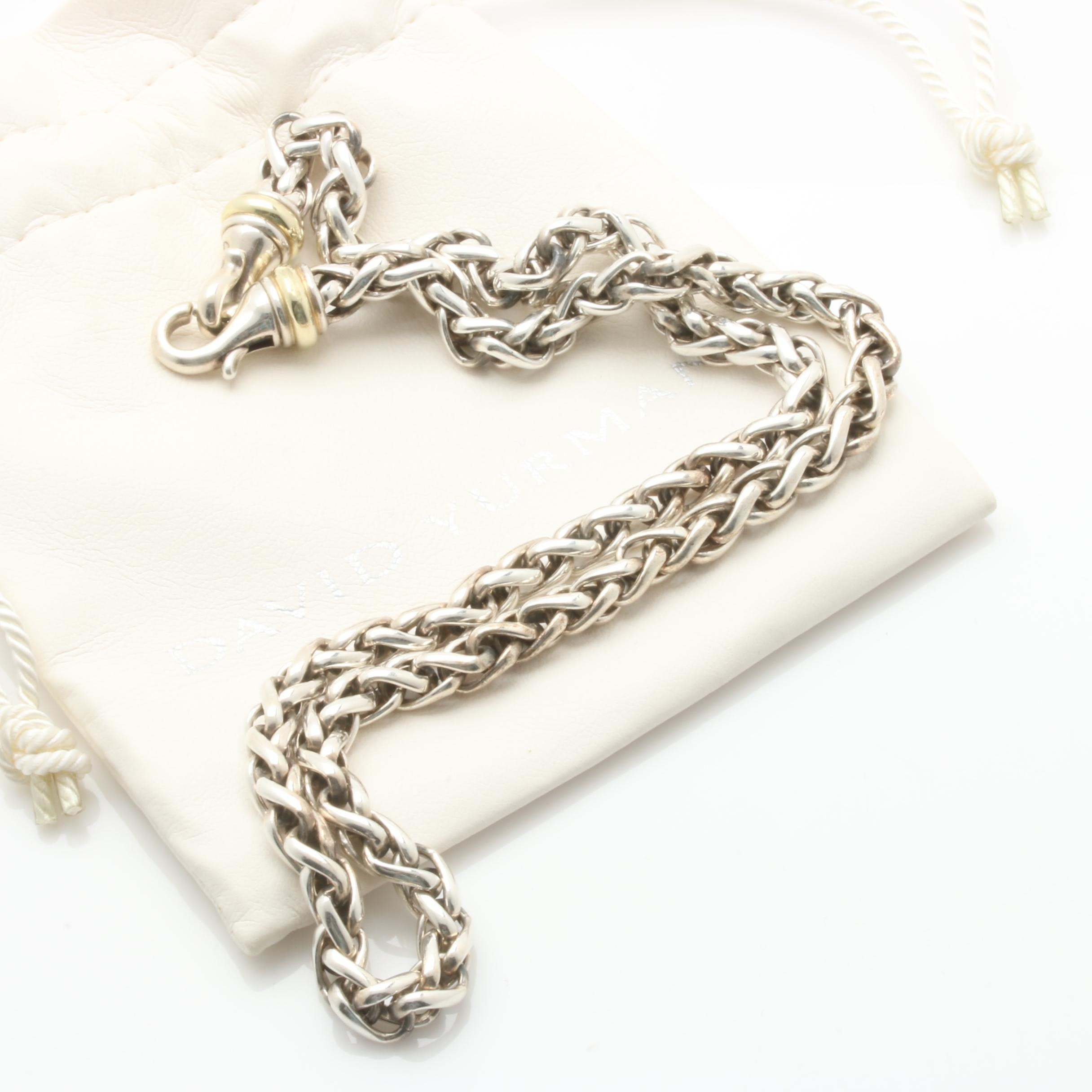David Yurman Sterling Silver Necklace with 14K Accents