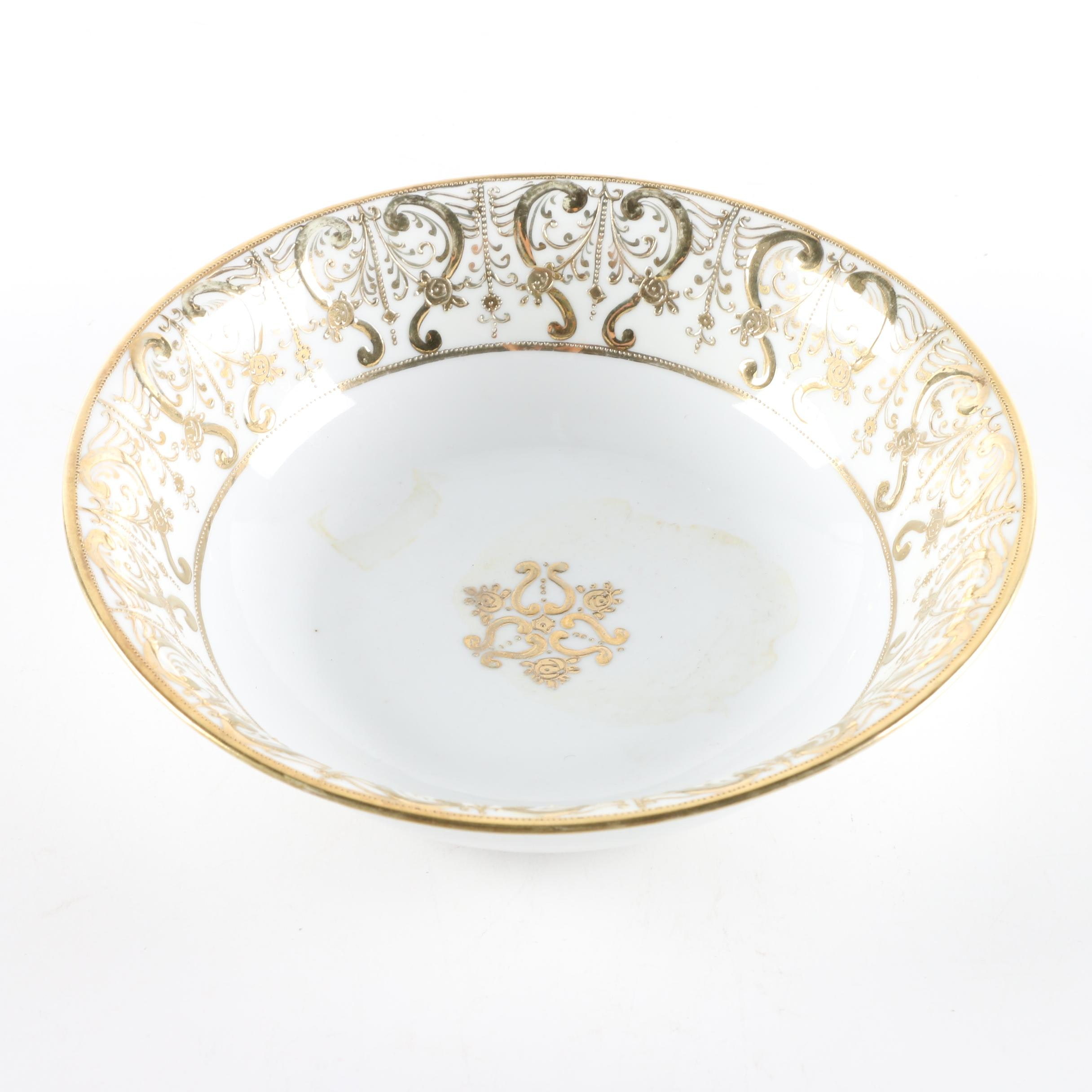 Nippon Hand-Painted Gilded Porcelain Bowl