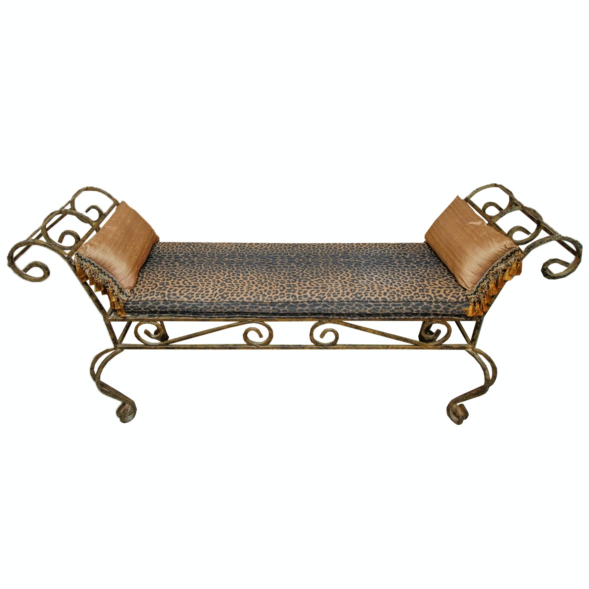 Wrought Metal Leopard Print Bench
