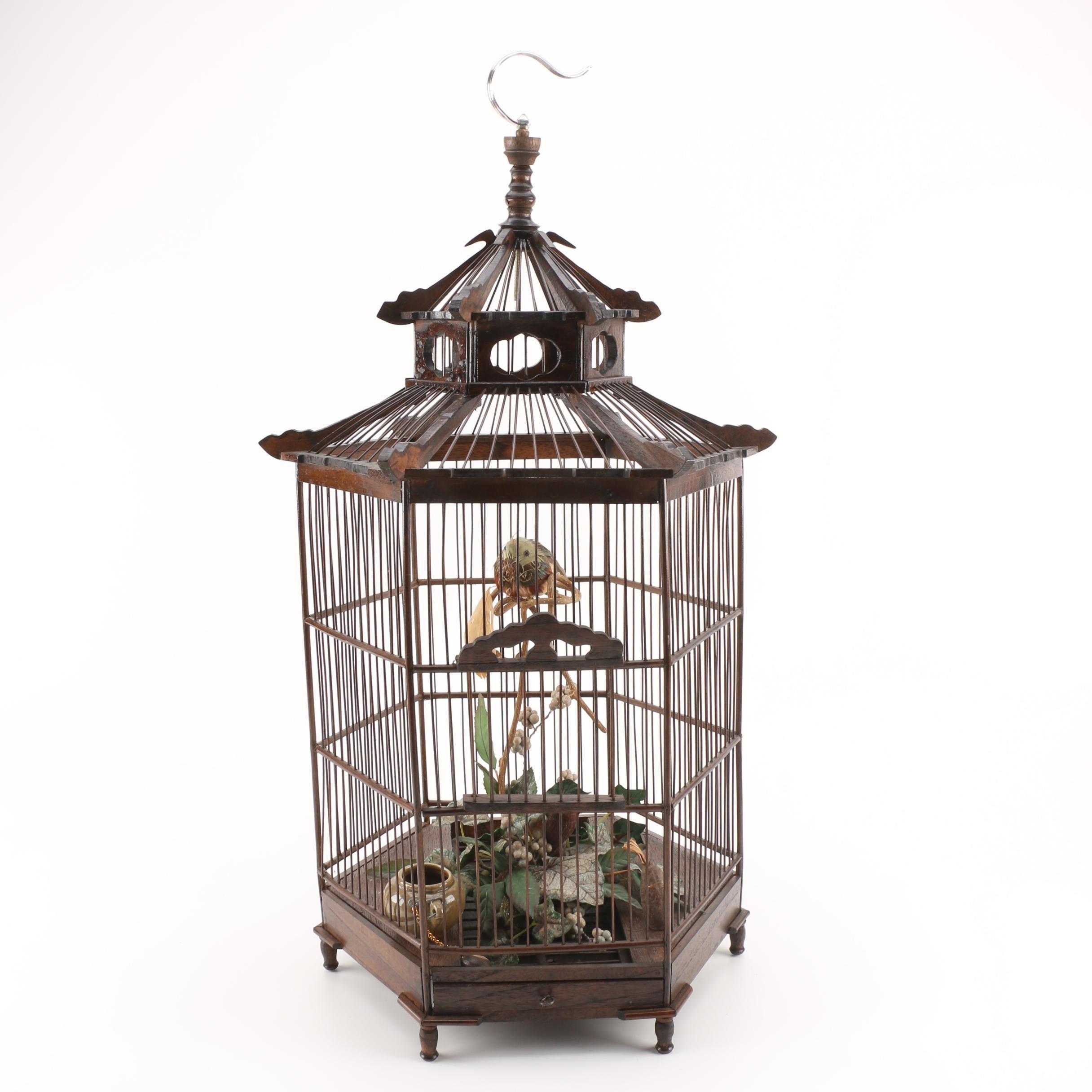 Vintage Wooden Bird Cage