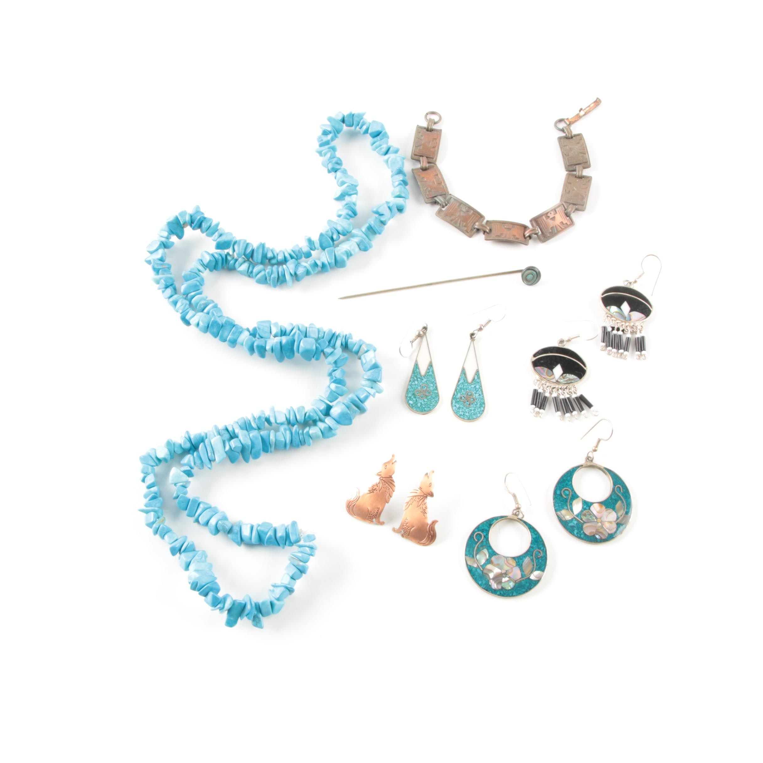 Costume and Gemstone Jewelry Including Abalone