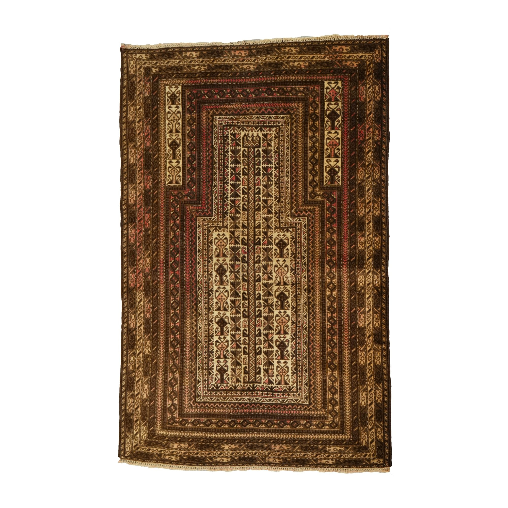 Finely Hand-Knotted Turkish Wool Prayer Rug