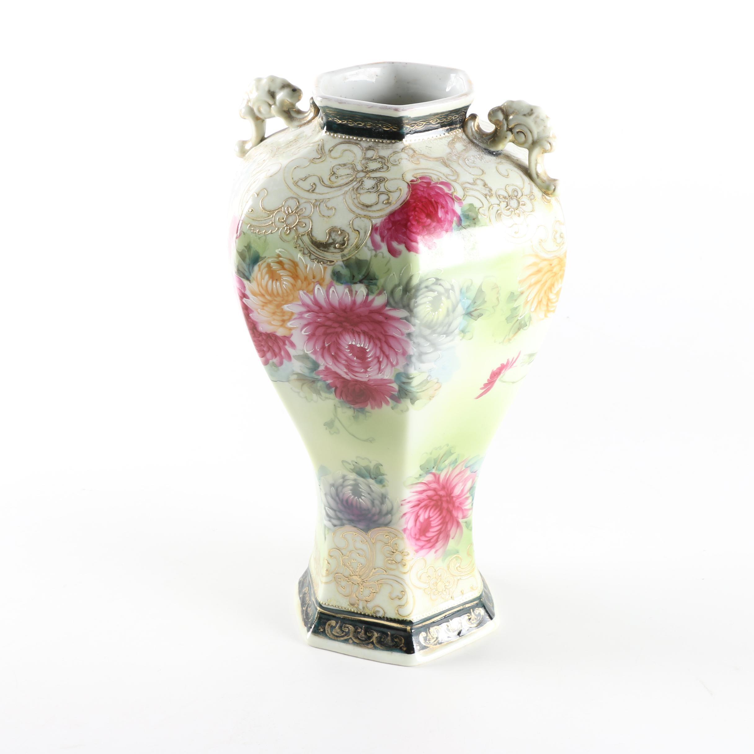 Hand Painted Nippon Porcelain Floral Motif Vase
