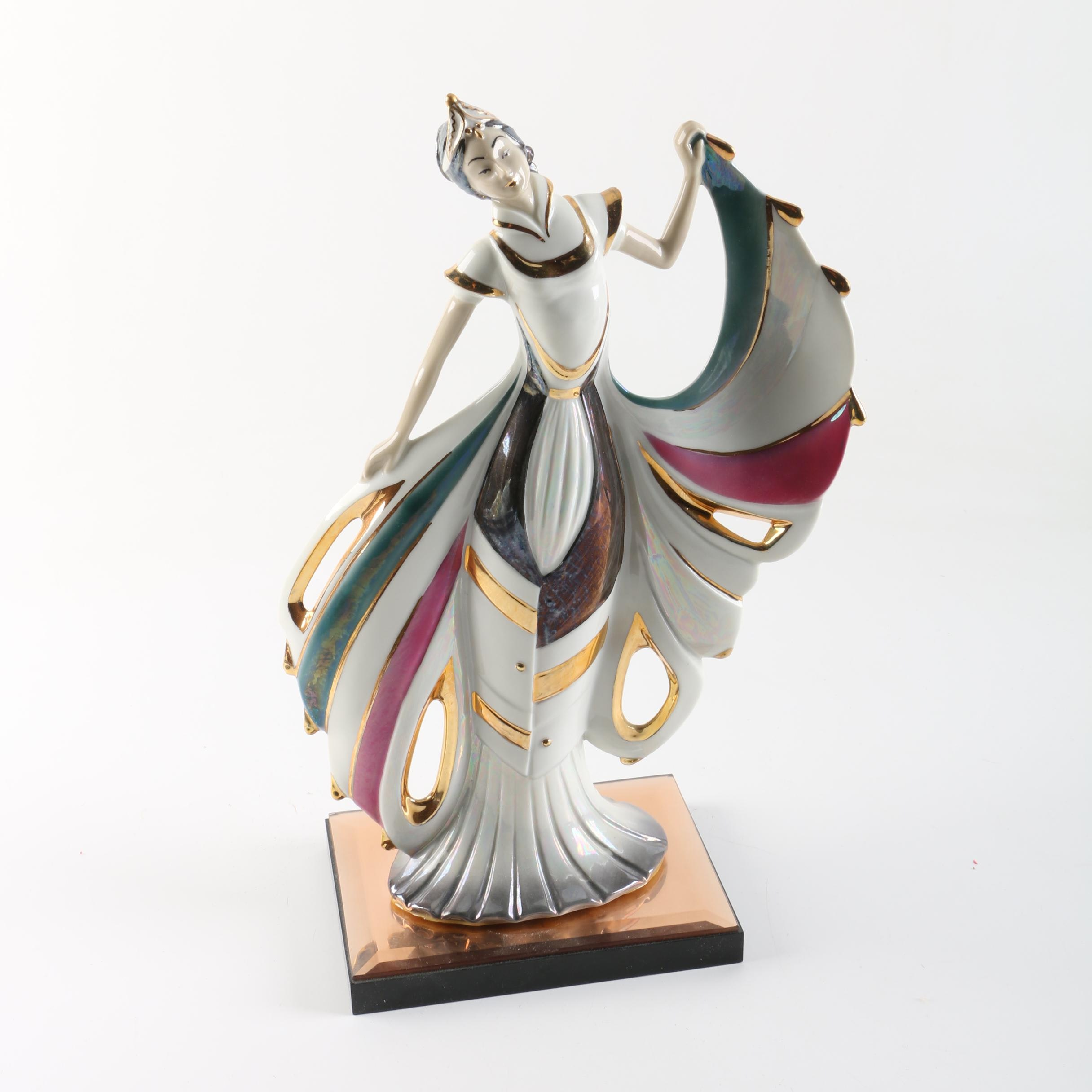 Art Deco Style Porcelain Figurine of Woman