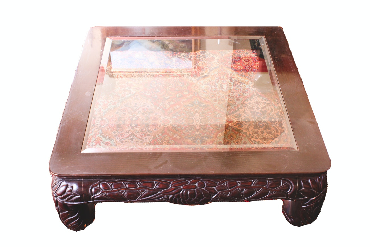 Large Glass-Top Coffee Table