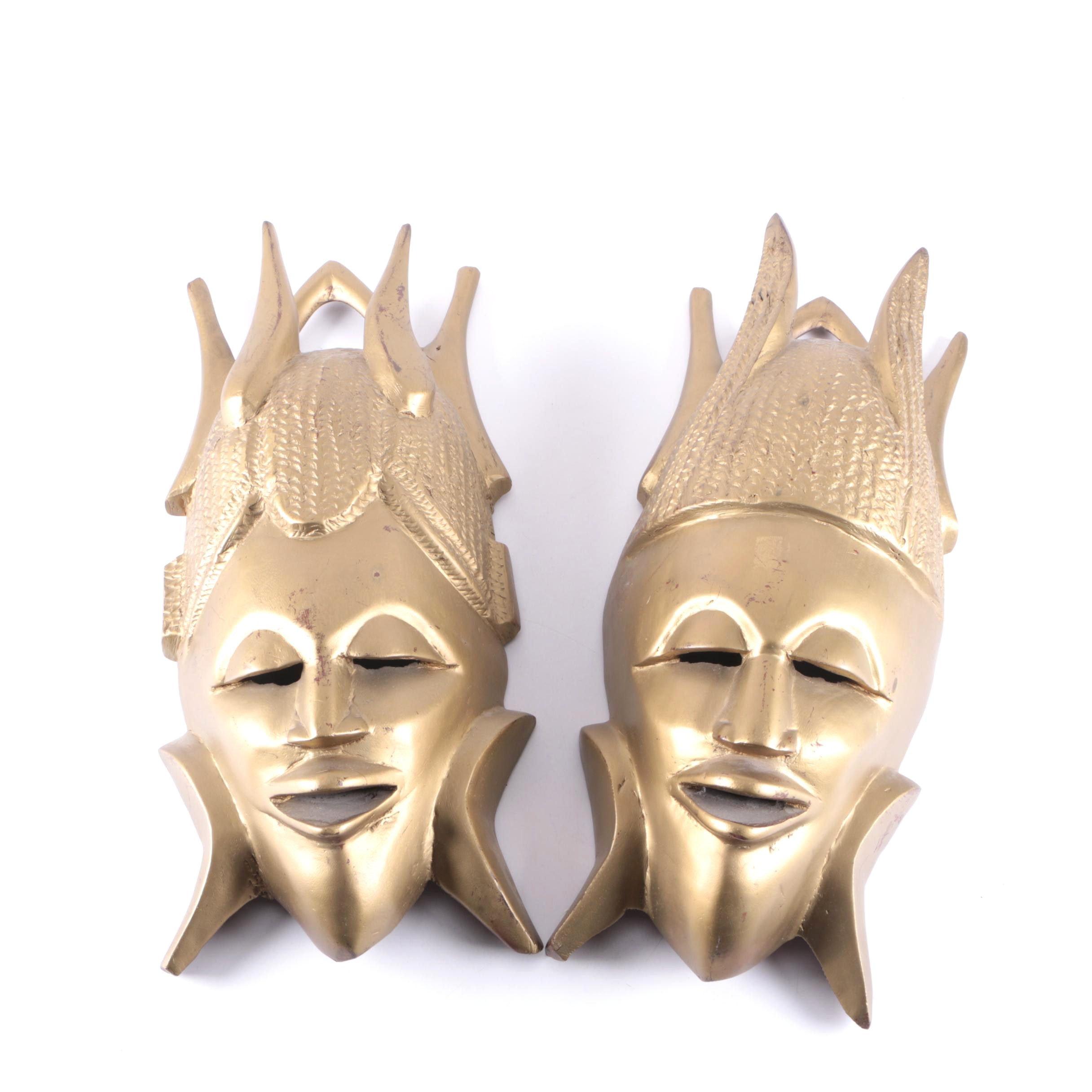 Carved Gold Tone African Masks