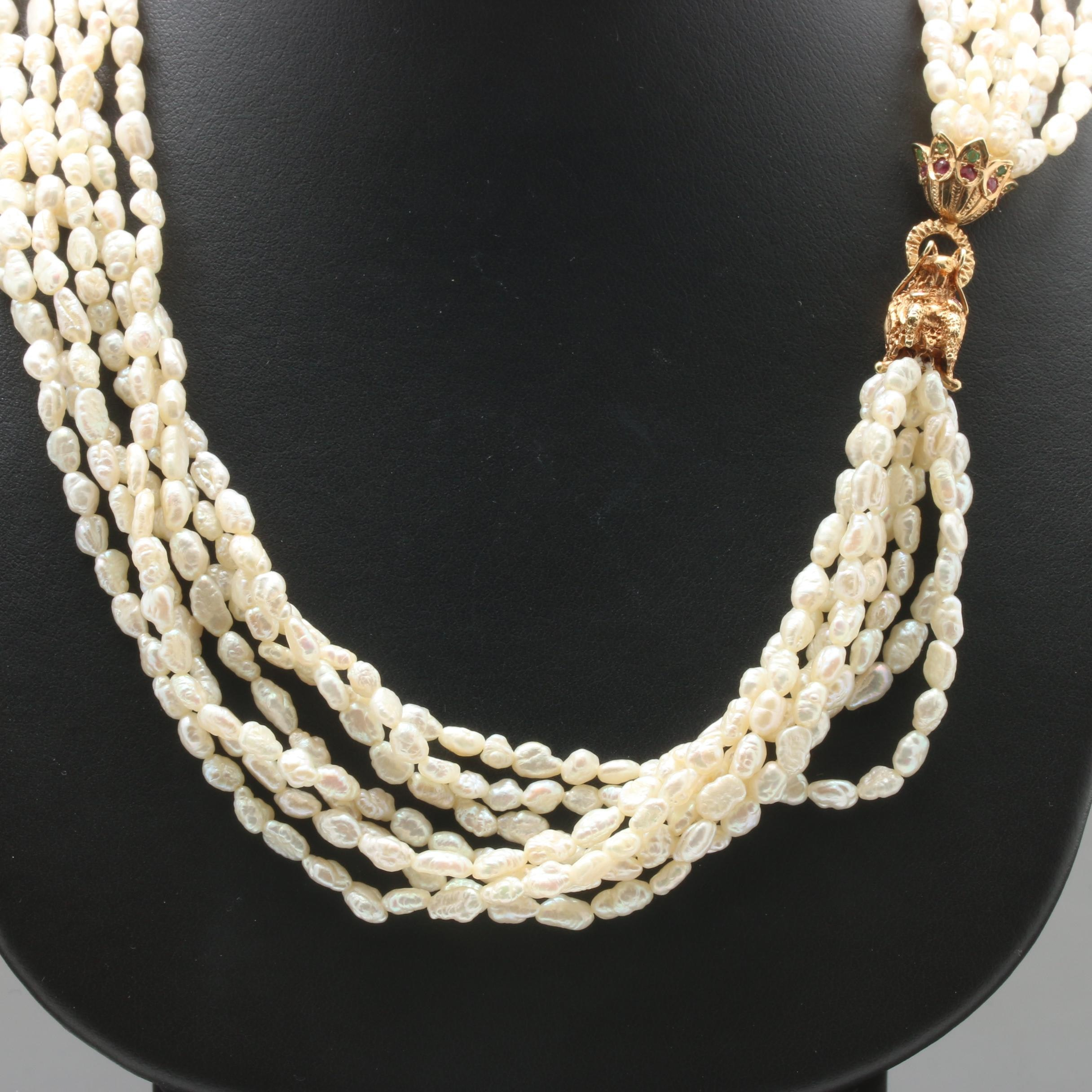 14K Yellow Gold Cultured Pearl Necklace With Ruby and Emerald Accents
