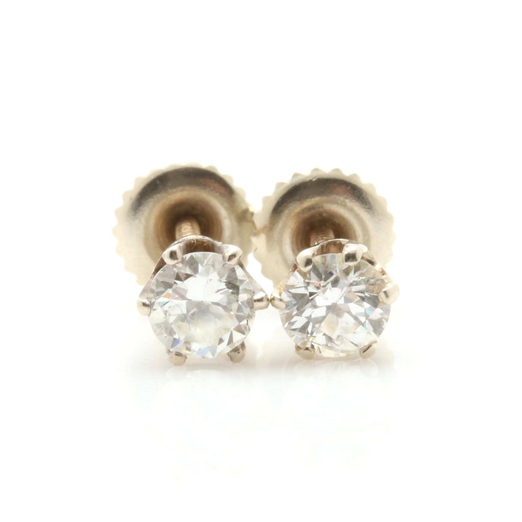 14K and 18K White Gold Diamond Stud Earrings