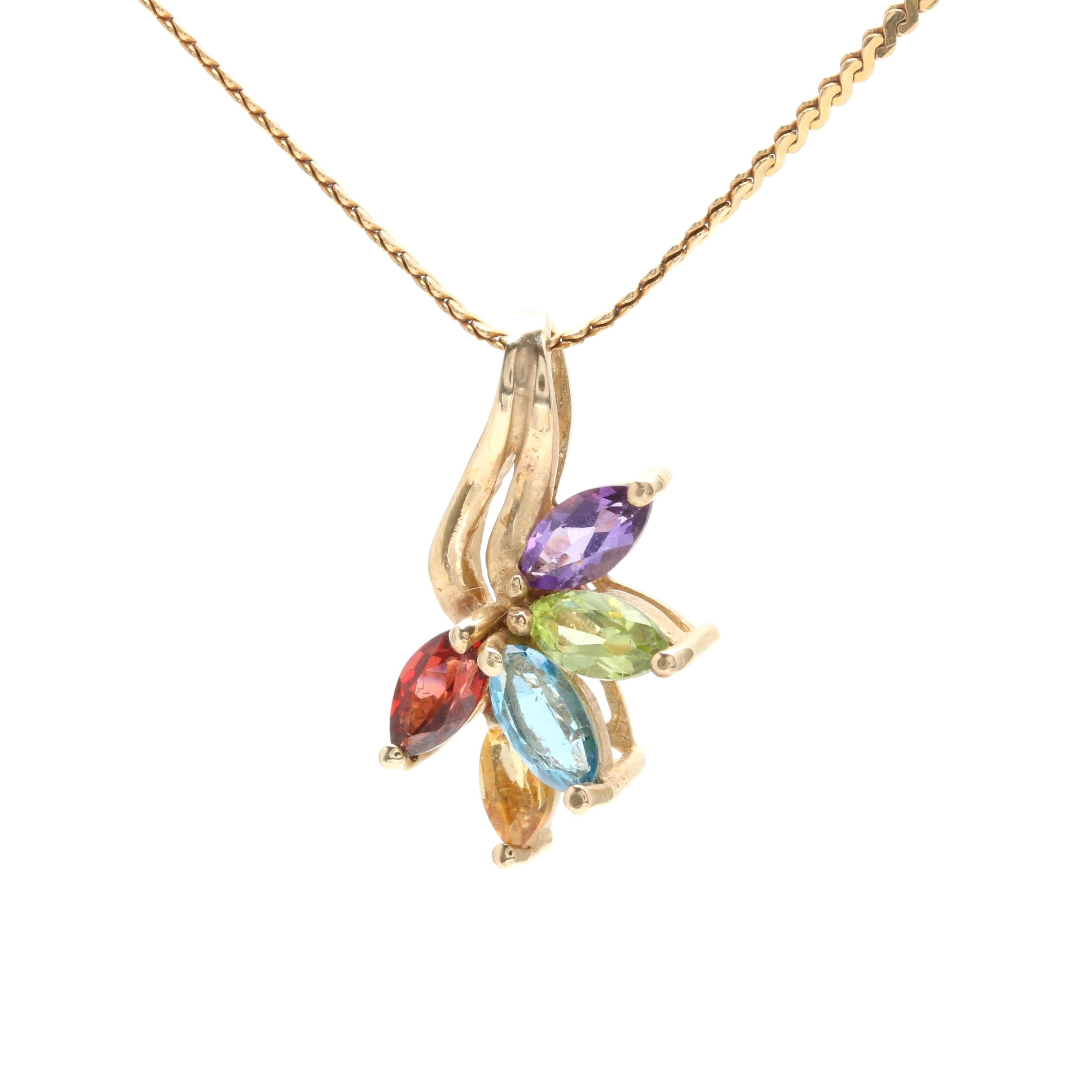 10K and 14K Yellow Gold Necklace and Gemstone Pendant