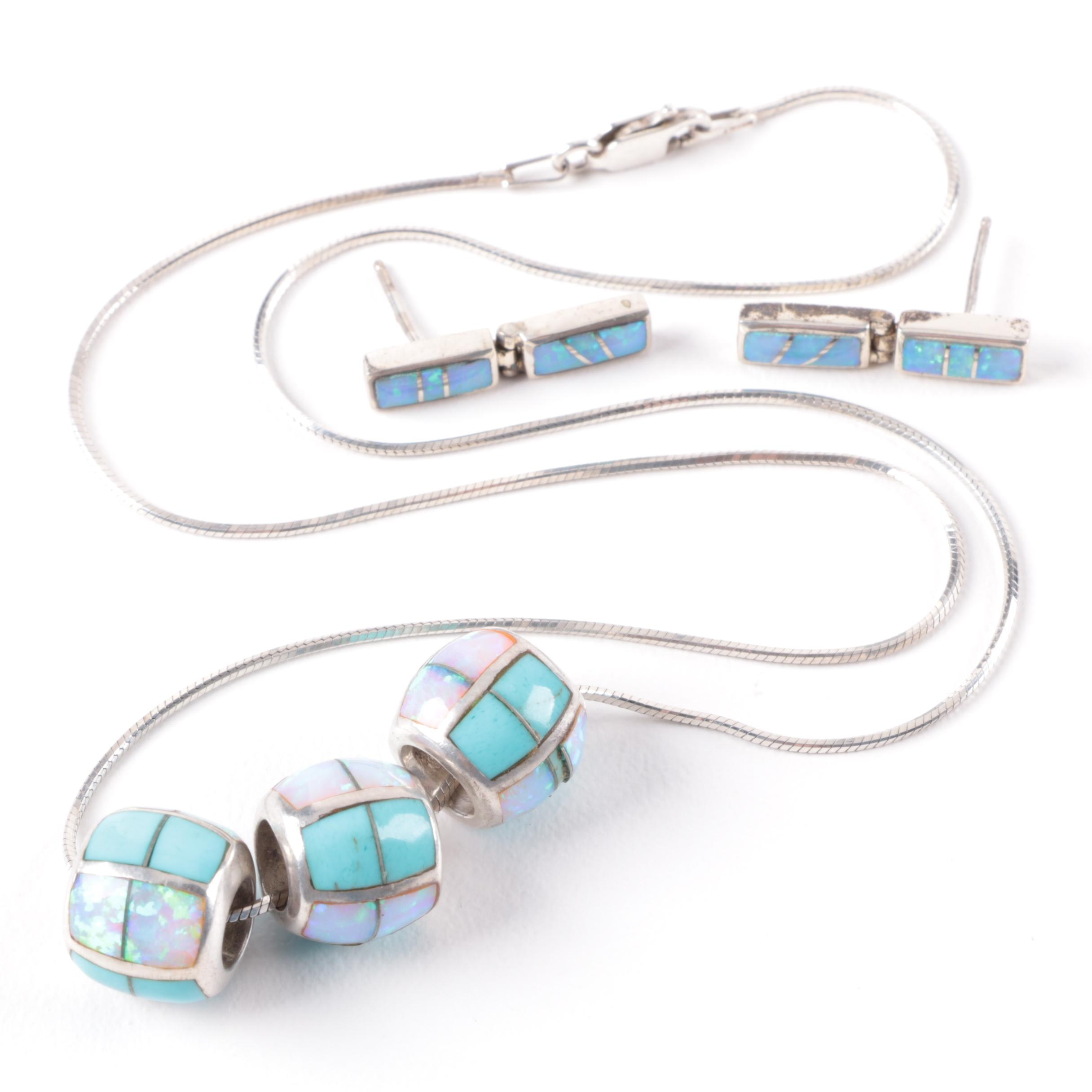 Sterling Silver Synthetic Opal and Turquoise Pendant Necklace and Earrings