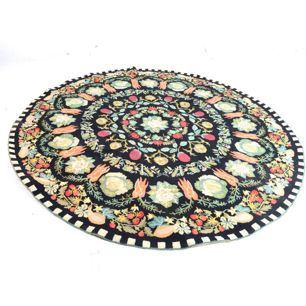 """Hand Hooked Claire Murray Circular Rug """"Harvest Collection"""""""