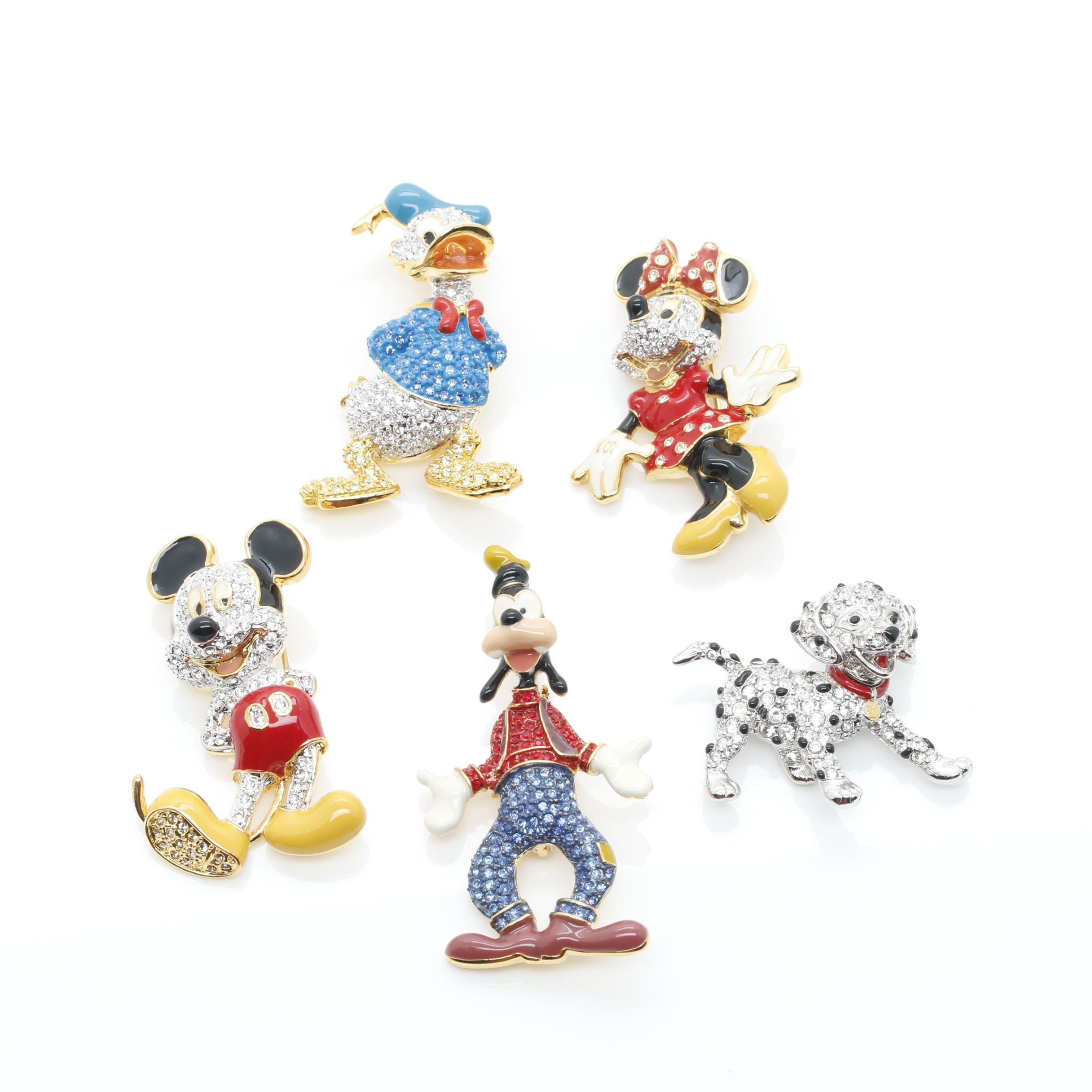 Selection of Brooches Including Swarovski and Disney