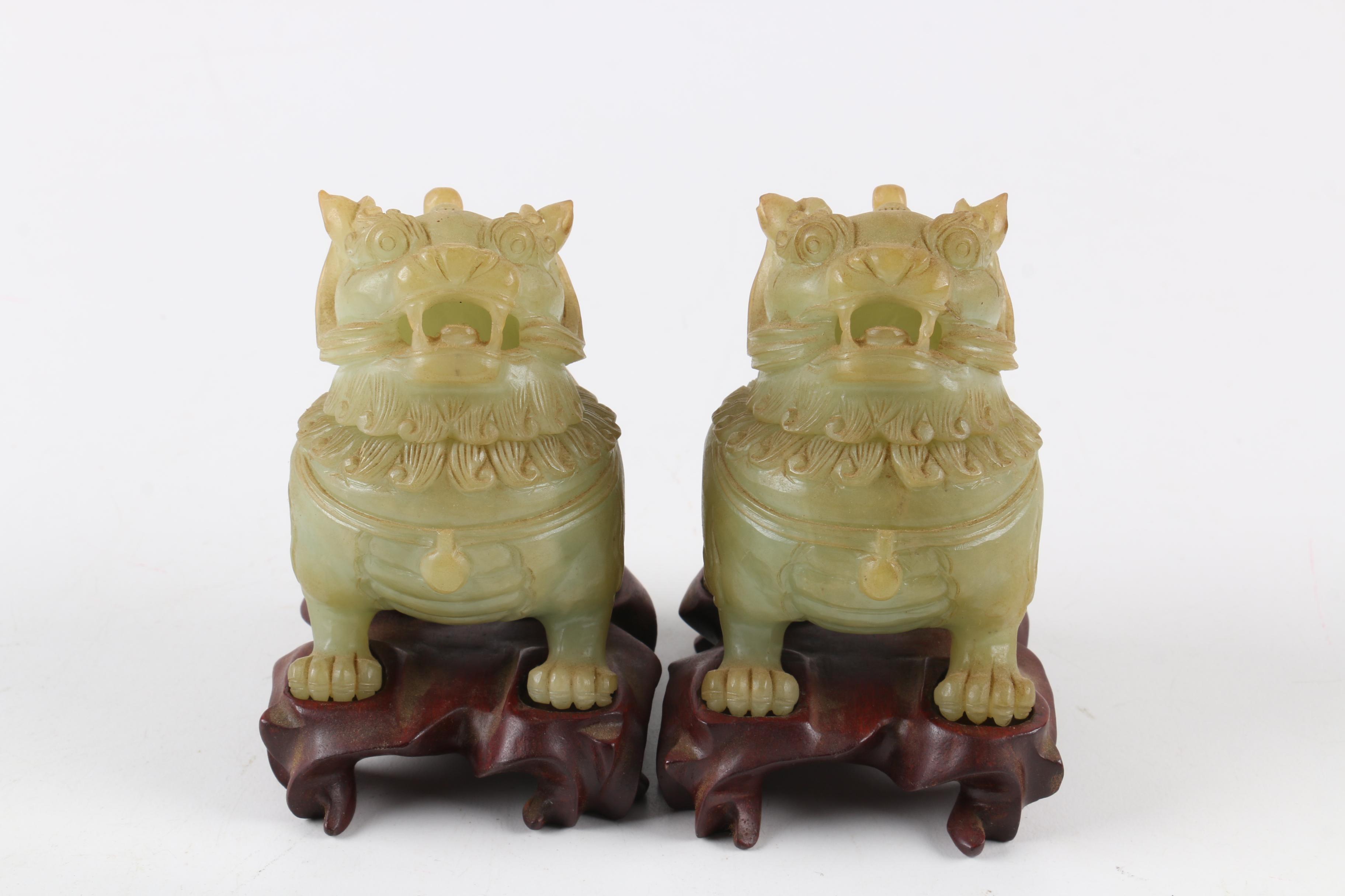 Chinese Bowenite Guardian Lion Jars