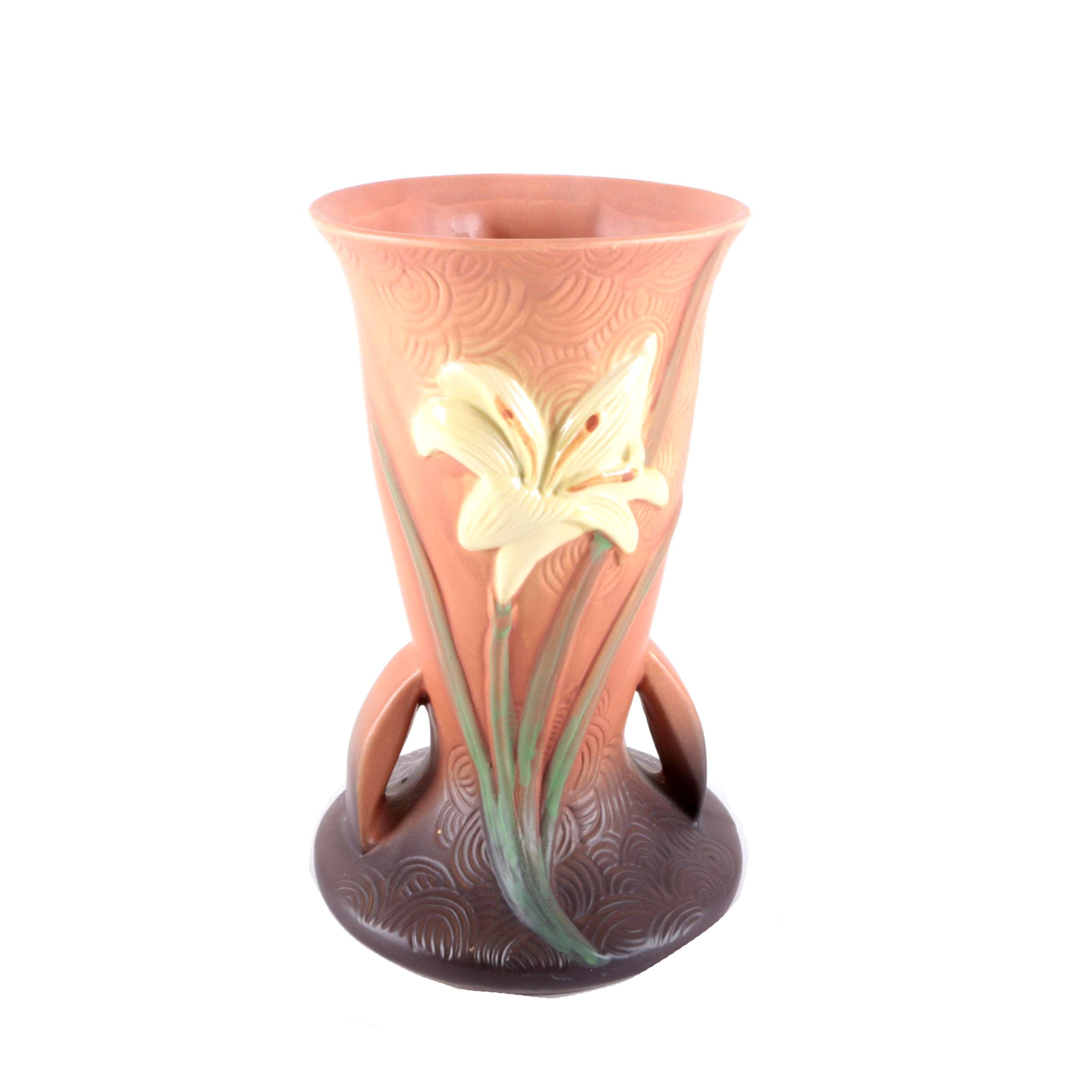 """Roseville Brown """"Zephyr Lily"""" Vase"""