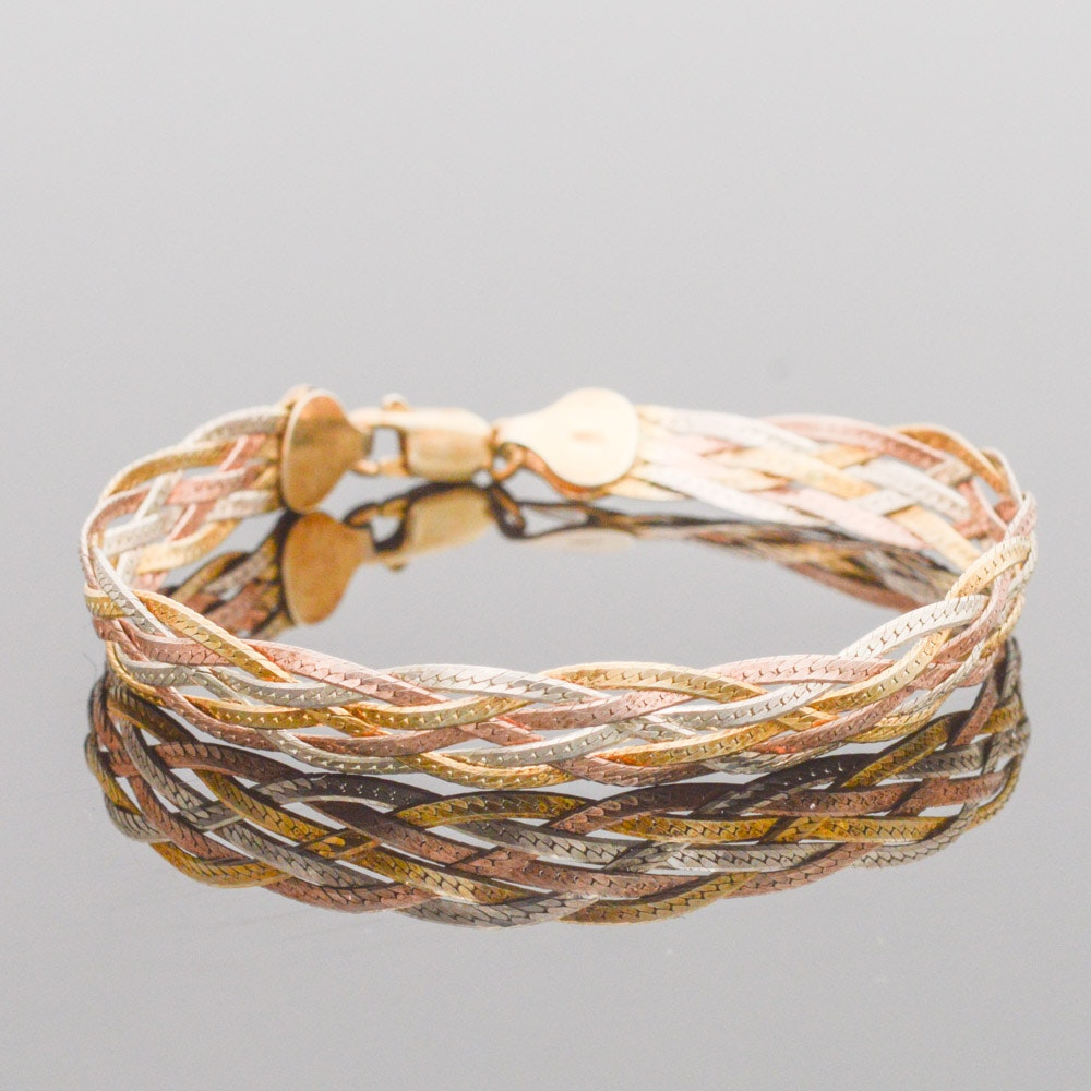 Tri-Color Gold Wash on Sterling Silver Braided Chain Bracelet