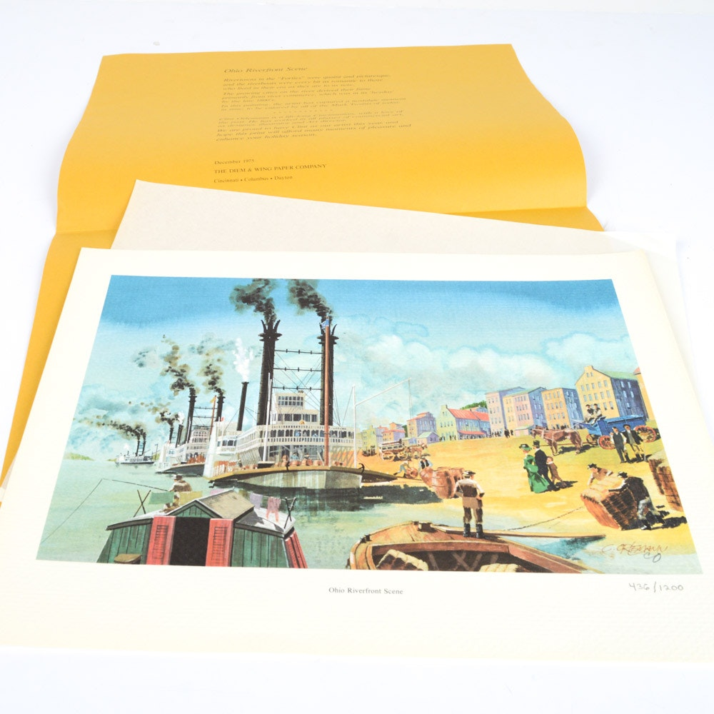 """1975 Clint Orleman Offset Lithograph """"Ohio Riverfront Scene"""""""