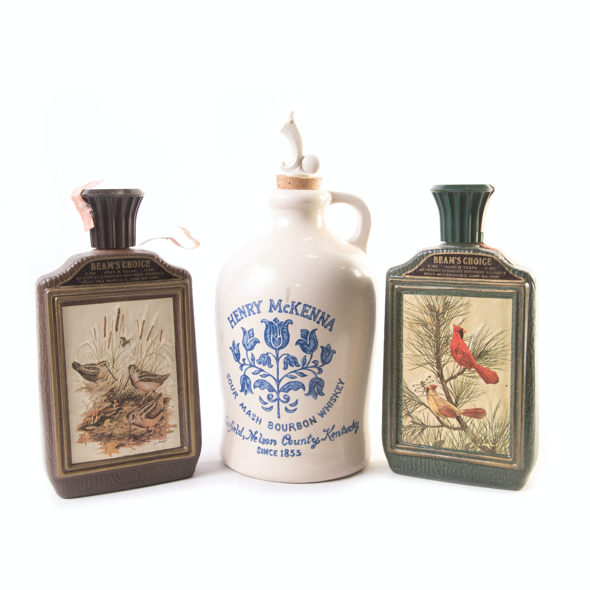 Henry McKenna Stoneware Jug and Beam's Choice Flasks