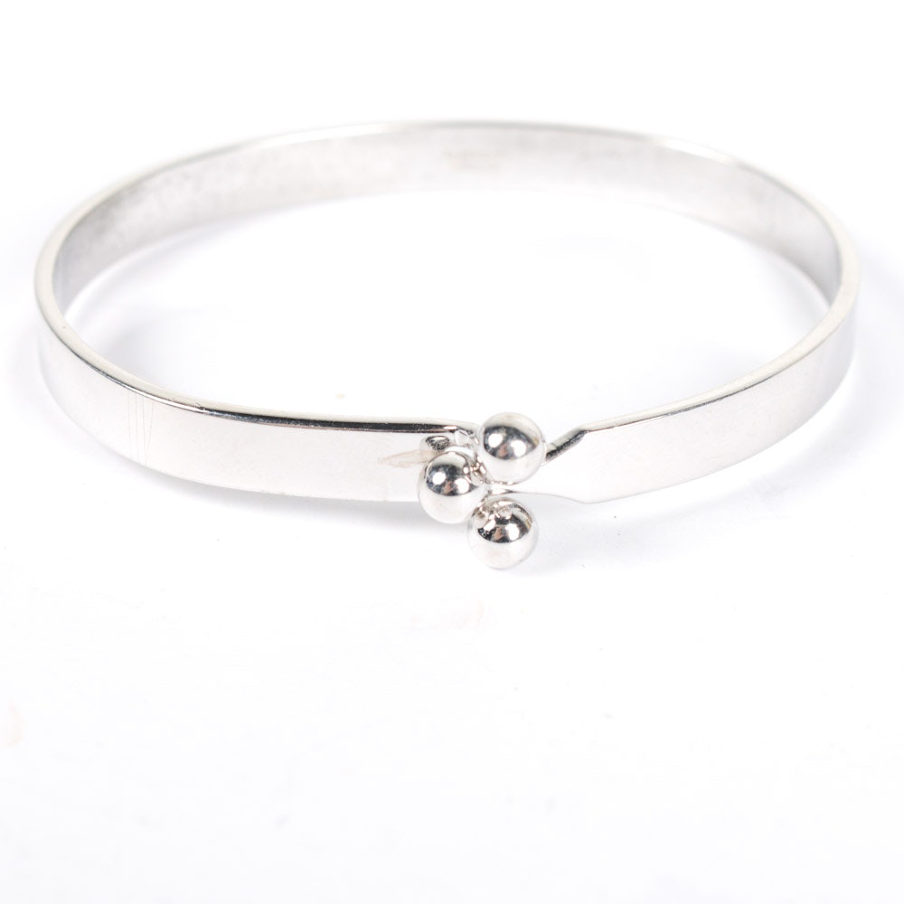 Danecraft Sterling Silver Ball Clasp Bangle