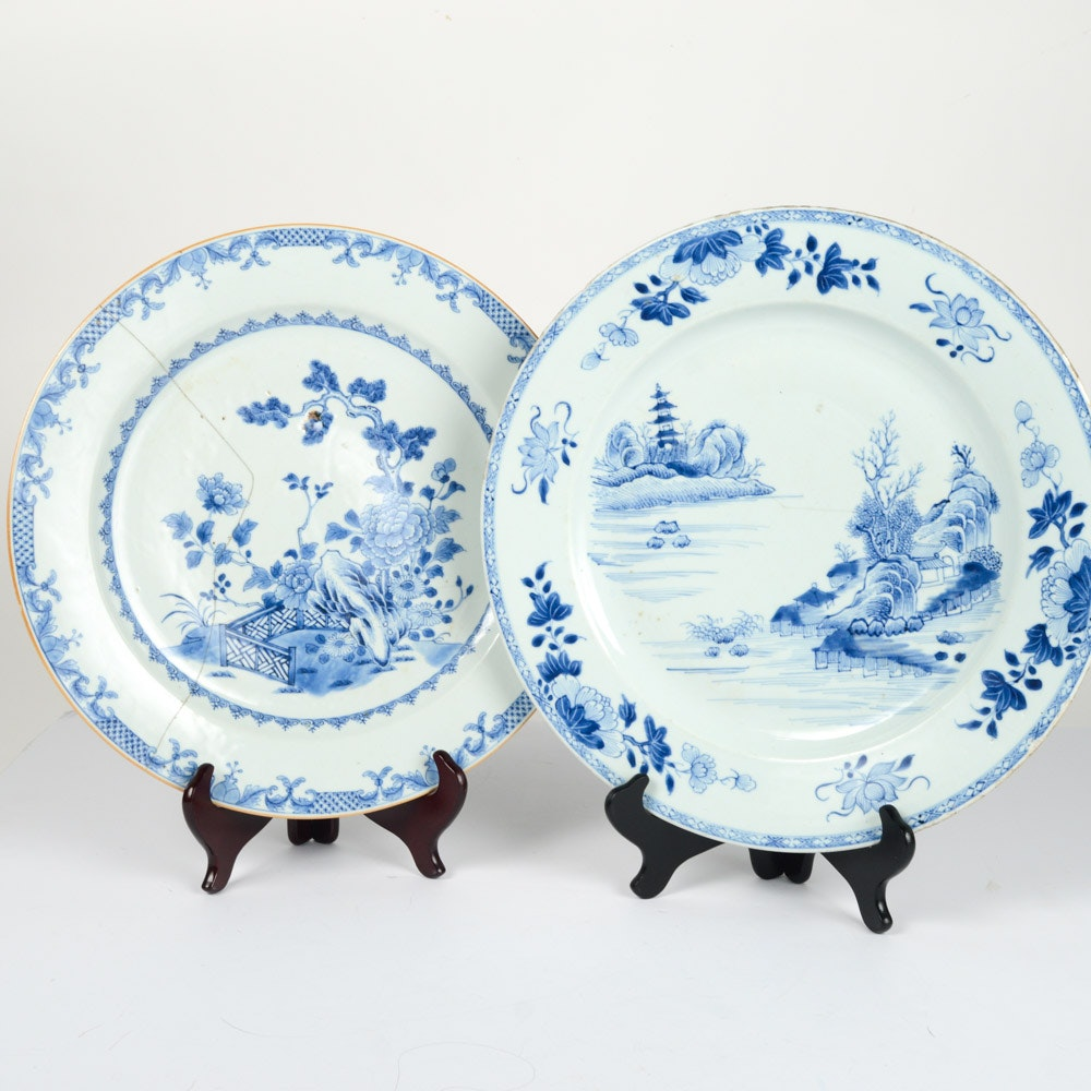 Antique Chinese Blue and White Ceramic Chargers