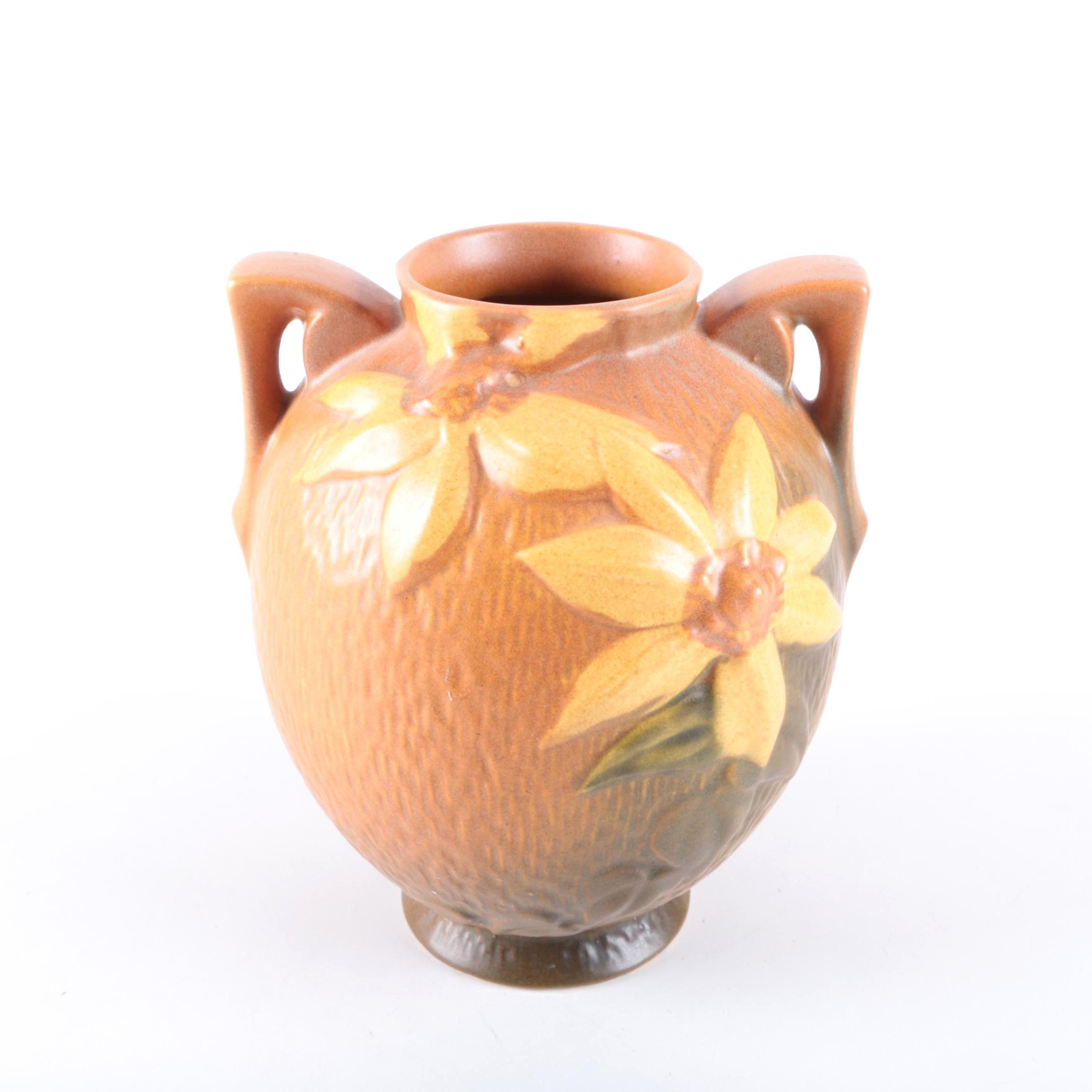 "Roseville Pottery ""Clematis"" Autumn Brown Vase"