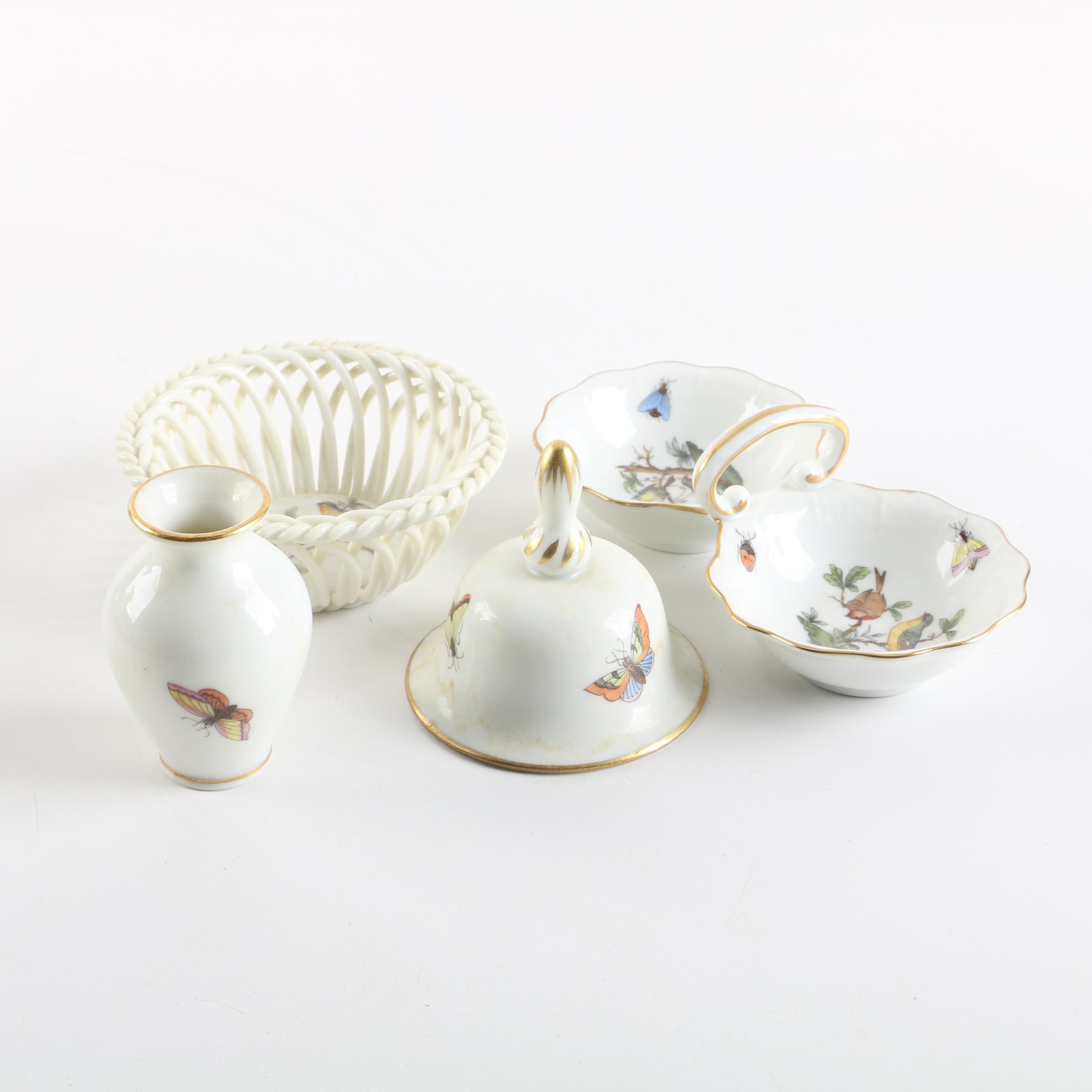 "Herend Hungary ""Rothschild Bird"" Porcelain Accent Pieces"