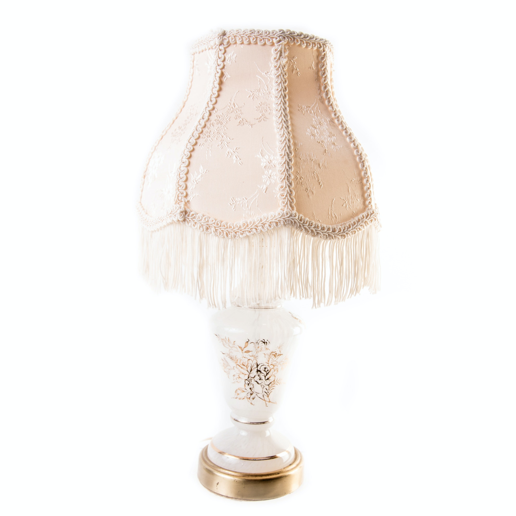 Vintage Petite Blown Glass Lamp with Gold Tone Accents