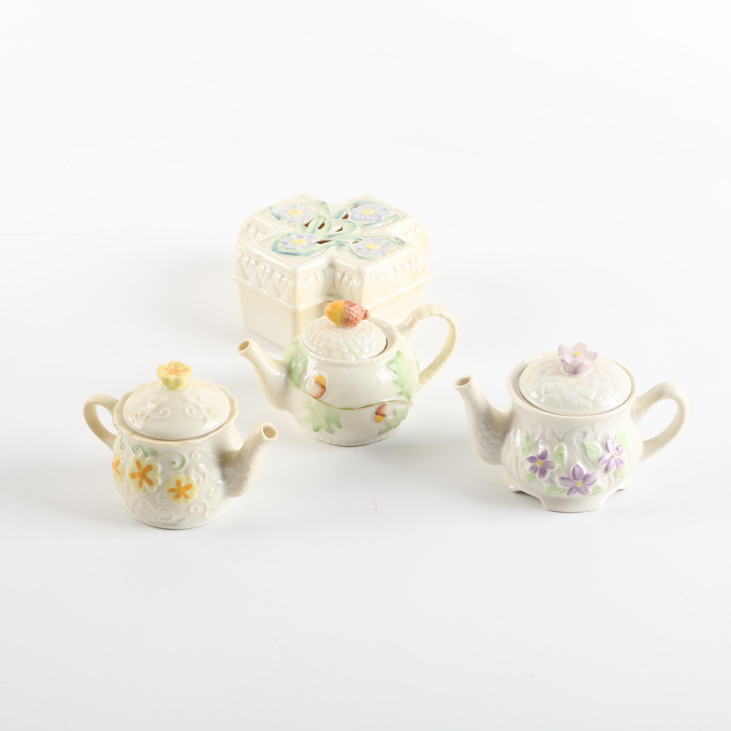 Belleek Teapots and Trinket Box