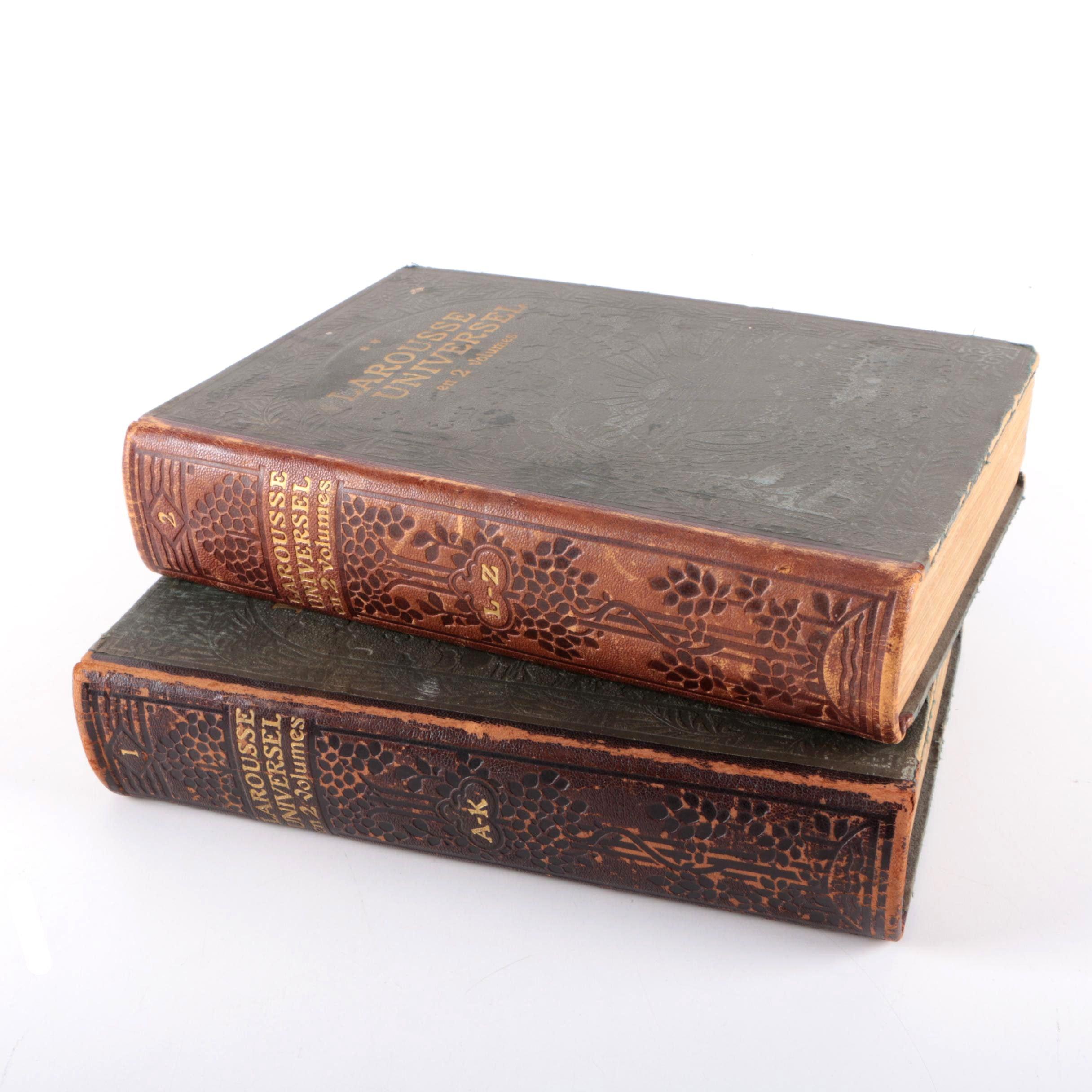 """1922 """"Larousse Universel en 2 Volumes"""" in Two Volumes"""
