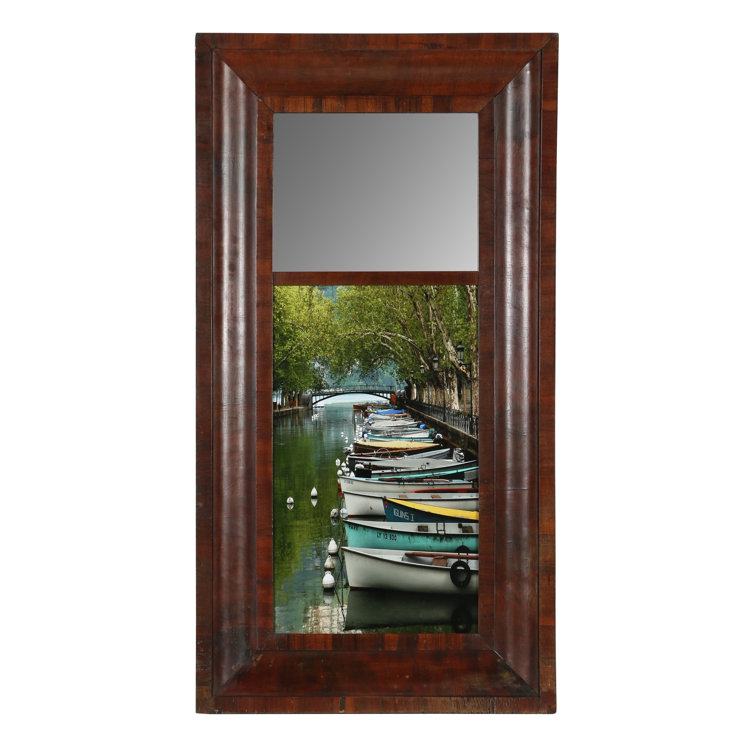 Dan Albright Boat Giclée with Mirror in a Wood Frame