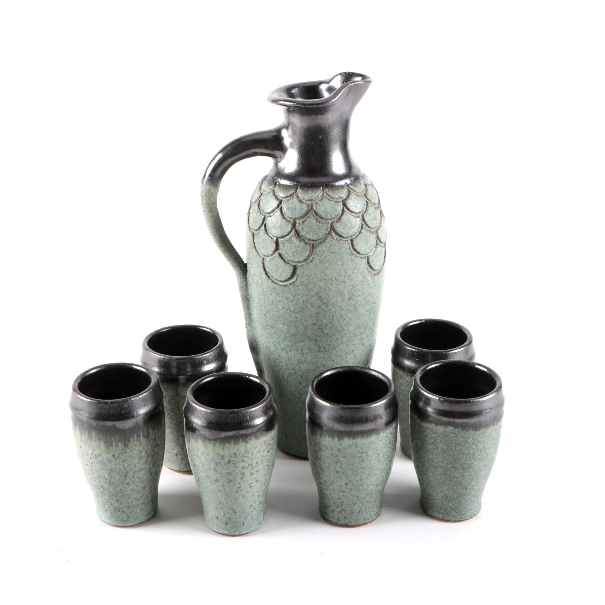 Speckled Glazed Ceramic Pitcher and Six Matching Cups
