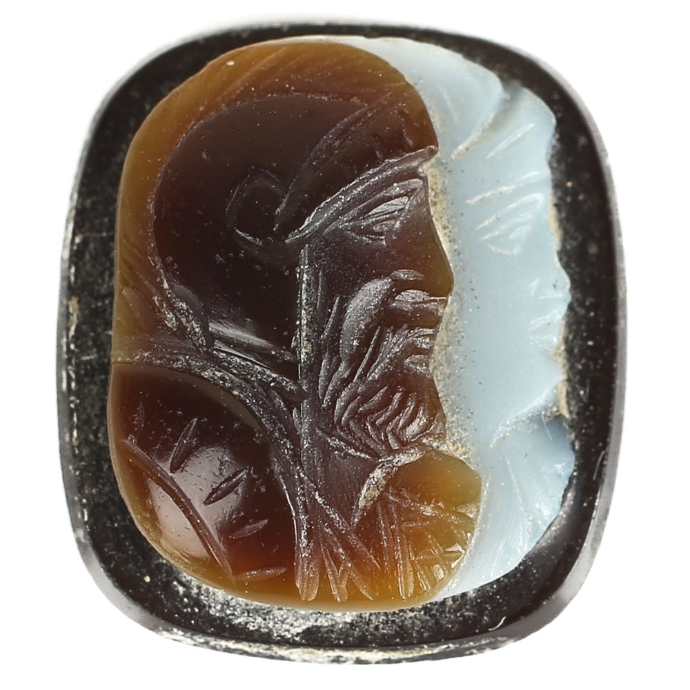 9.55 CT Carved Sardonyx Double Portrait Cameo