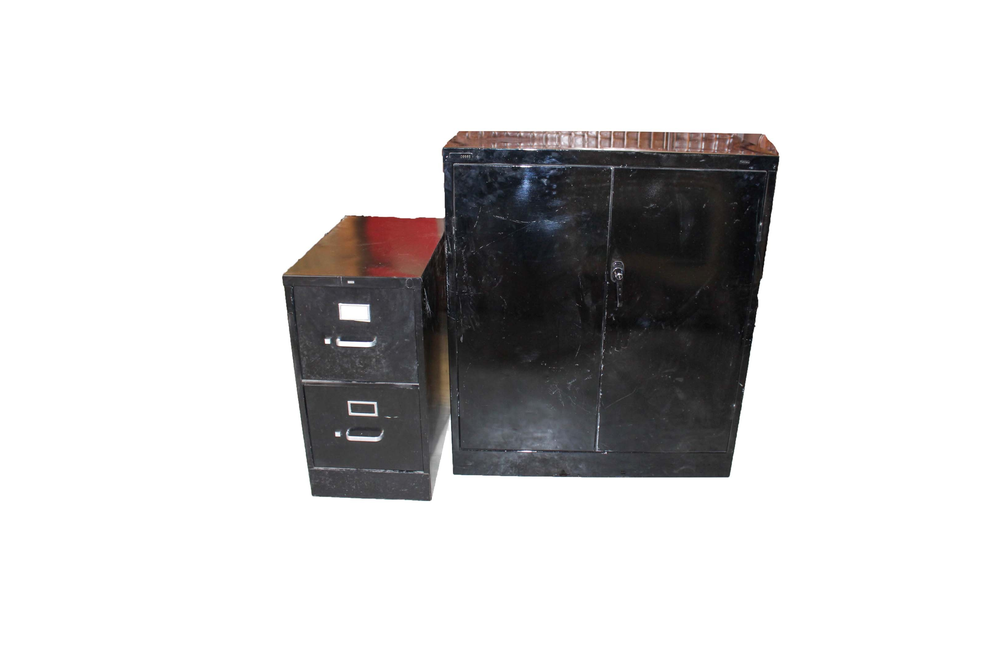 Vintage Black Metal File and Storage Cabinets Featuring HON