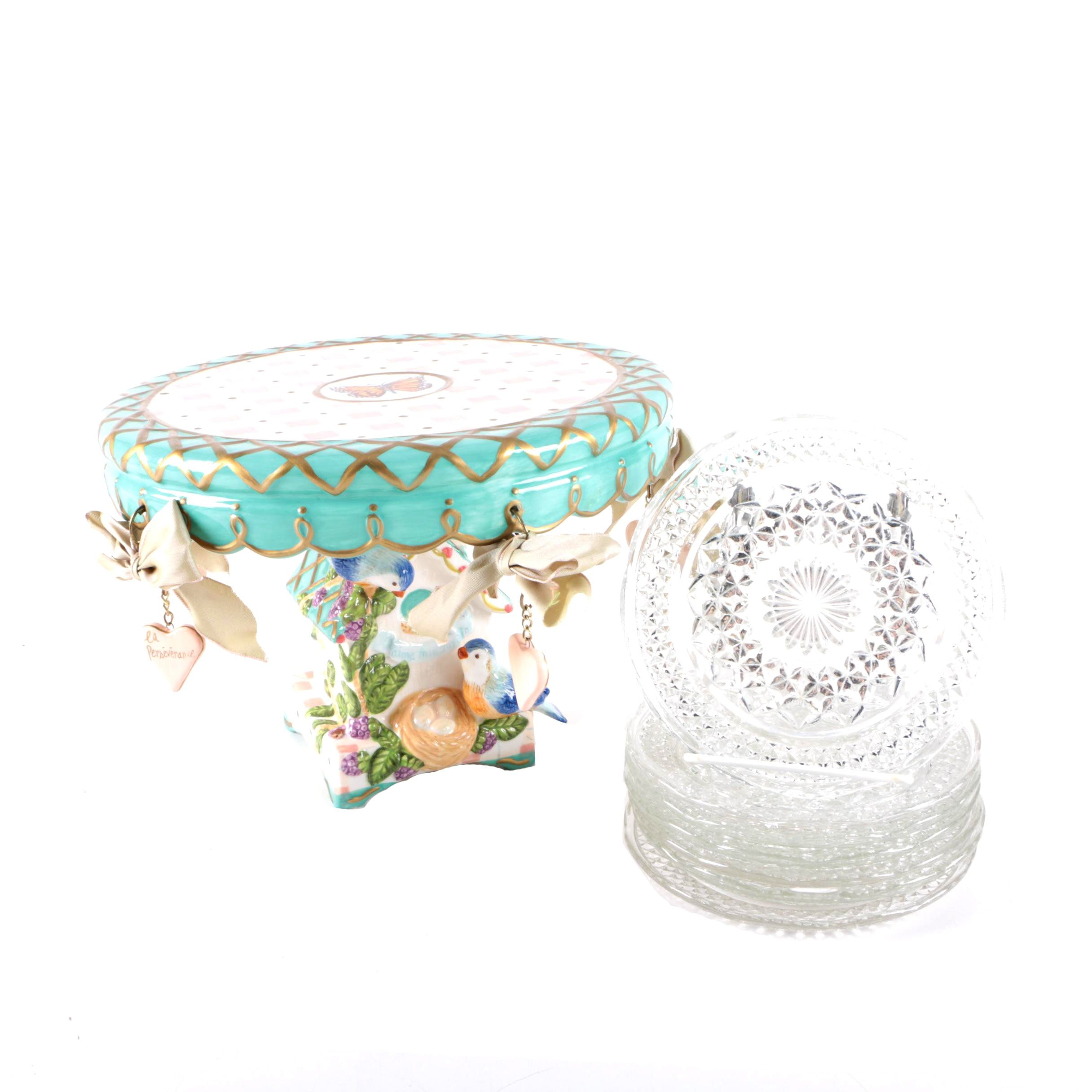 Whimsical Ceramic Cake Stand with Pressed Glass Dishes