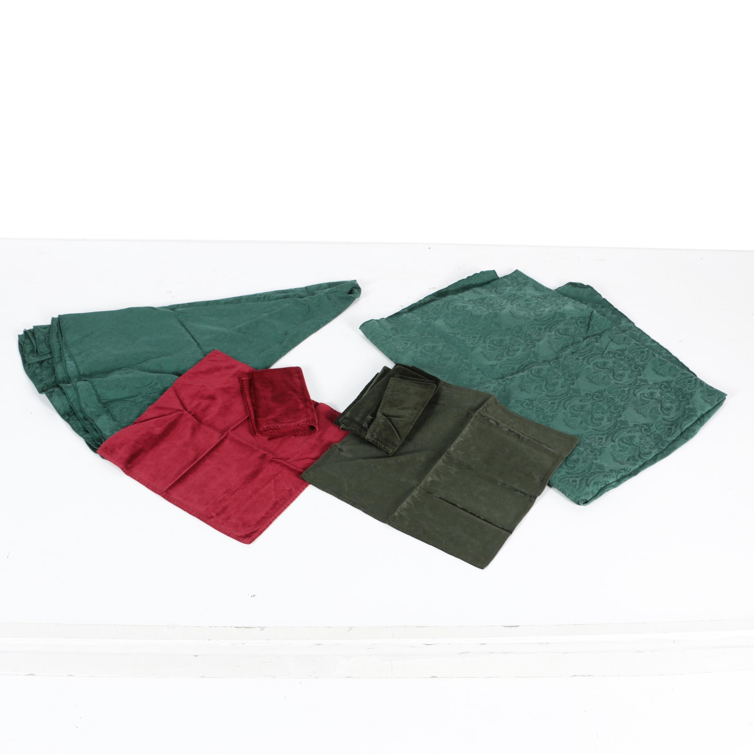 Collection of Red and Green Table Linens
