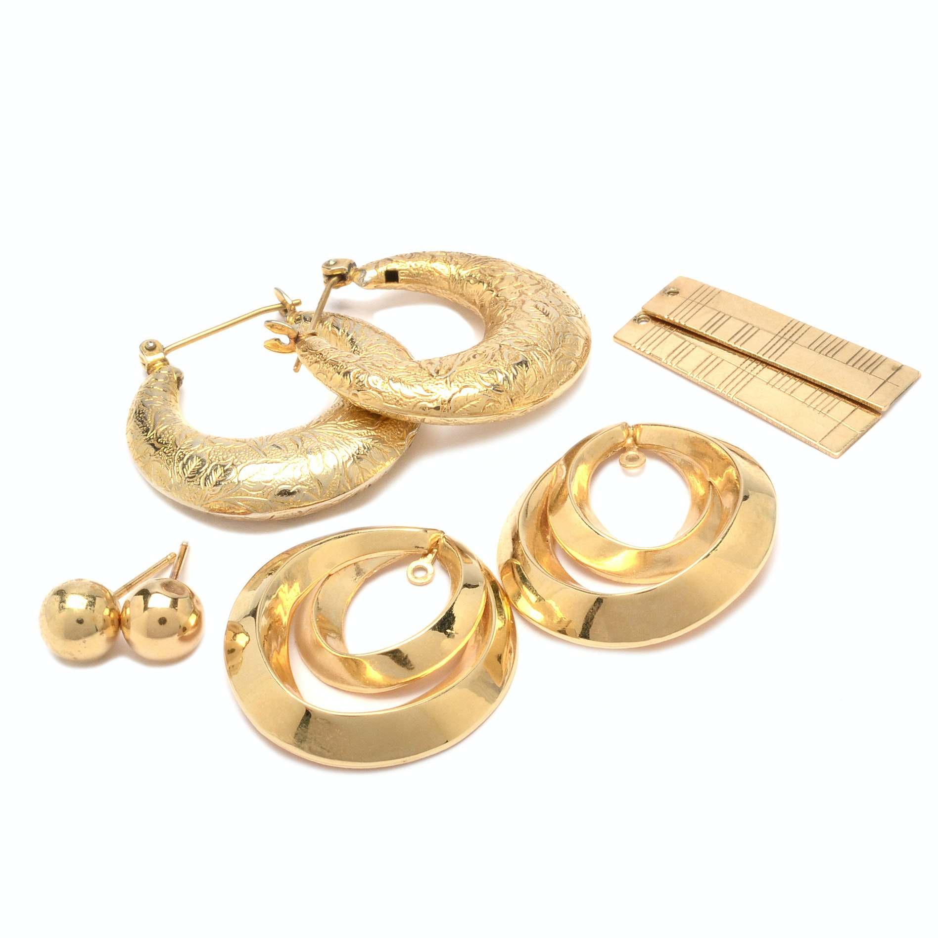 Yellow Gold Earrings and Earring Jackets