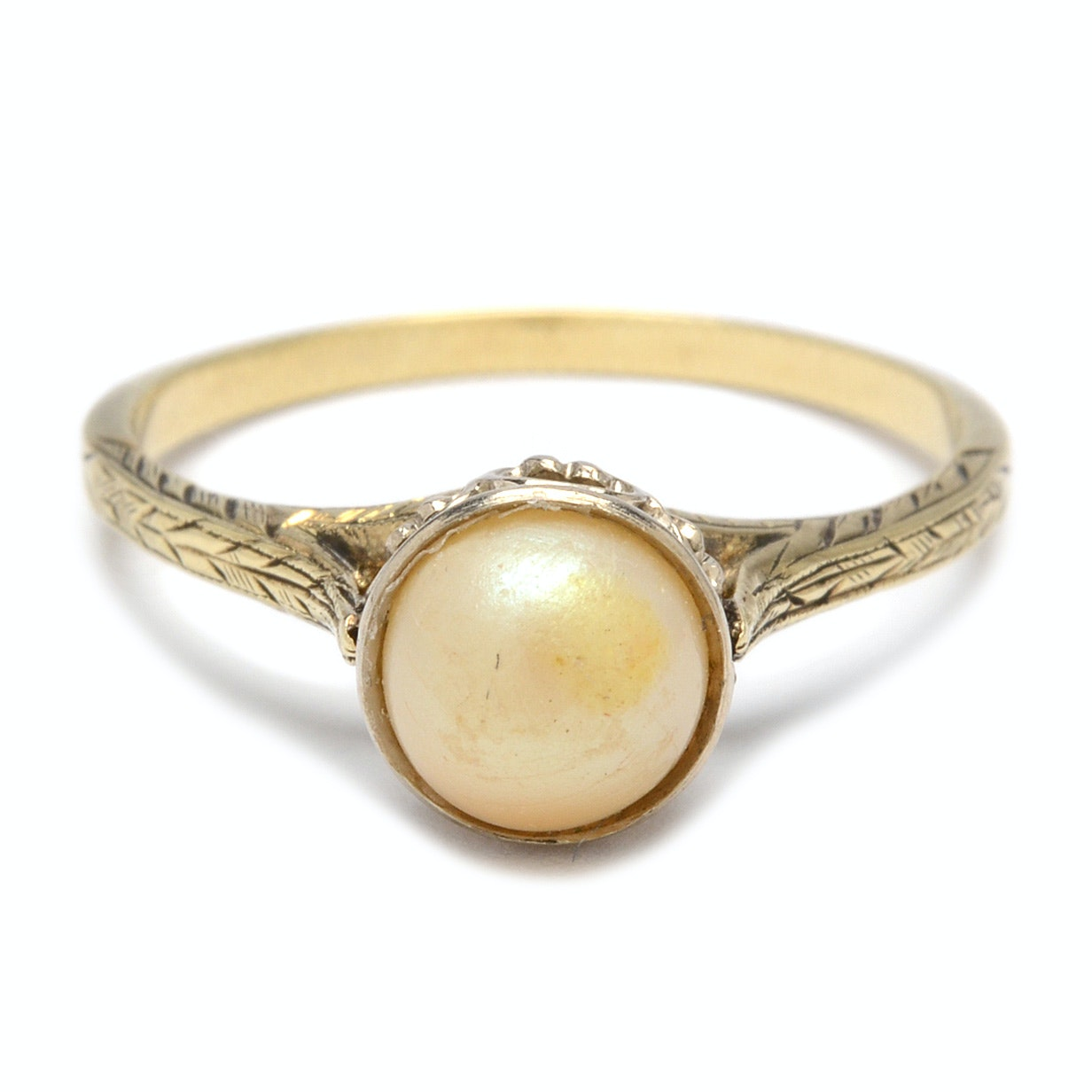 14K and 10K Two Tone Gold Ring with Imitation Pearl