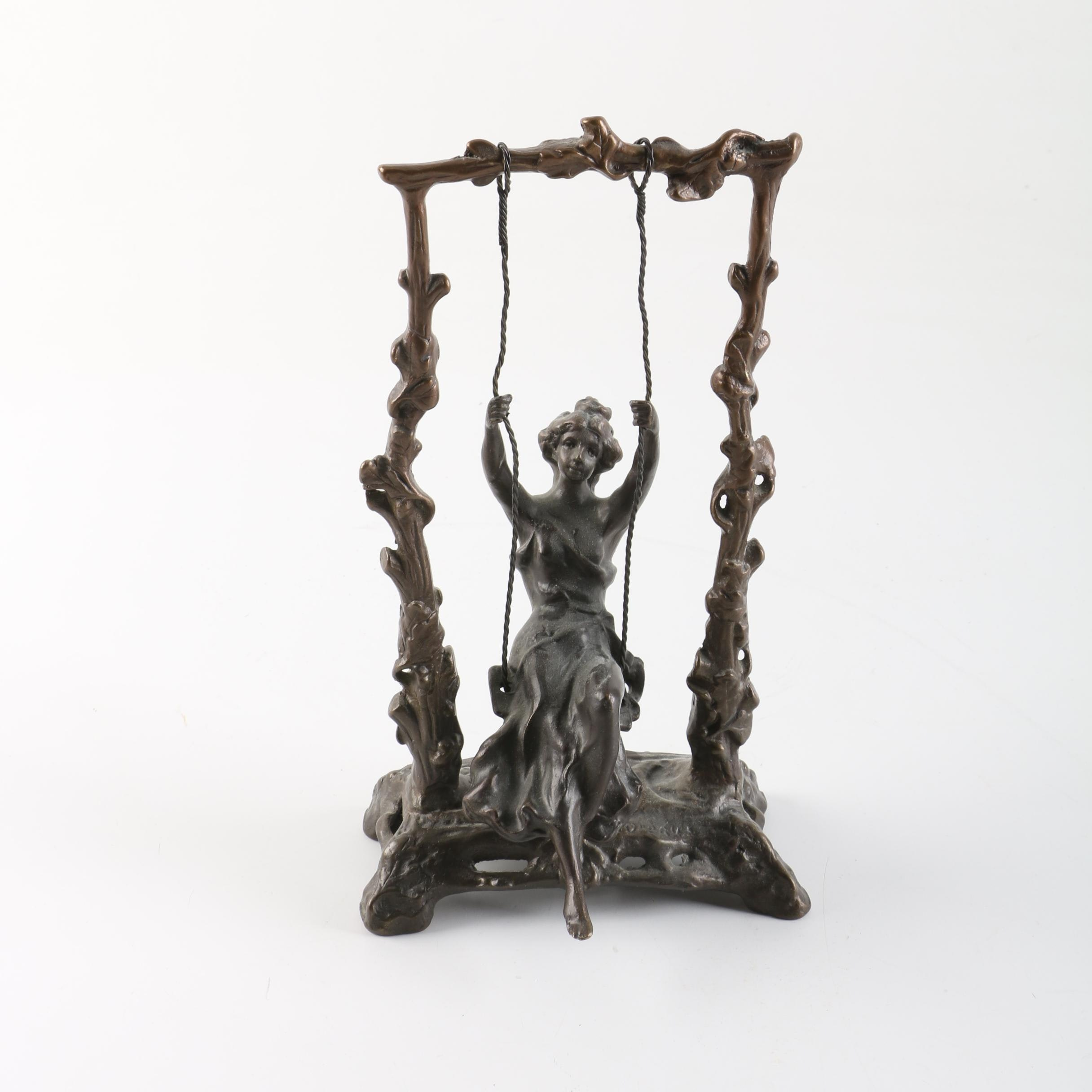 """Spelter Sculpture After Auguste Moreau """"Girl on a Swing"""""""