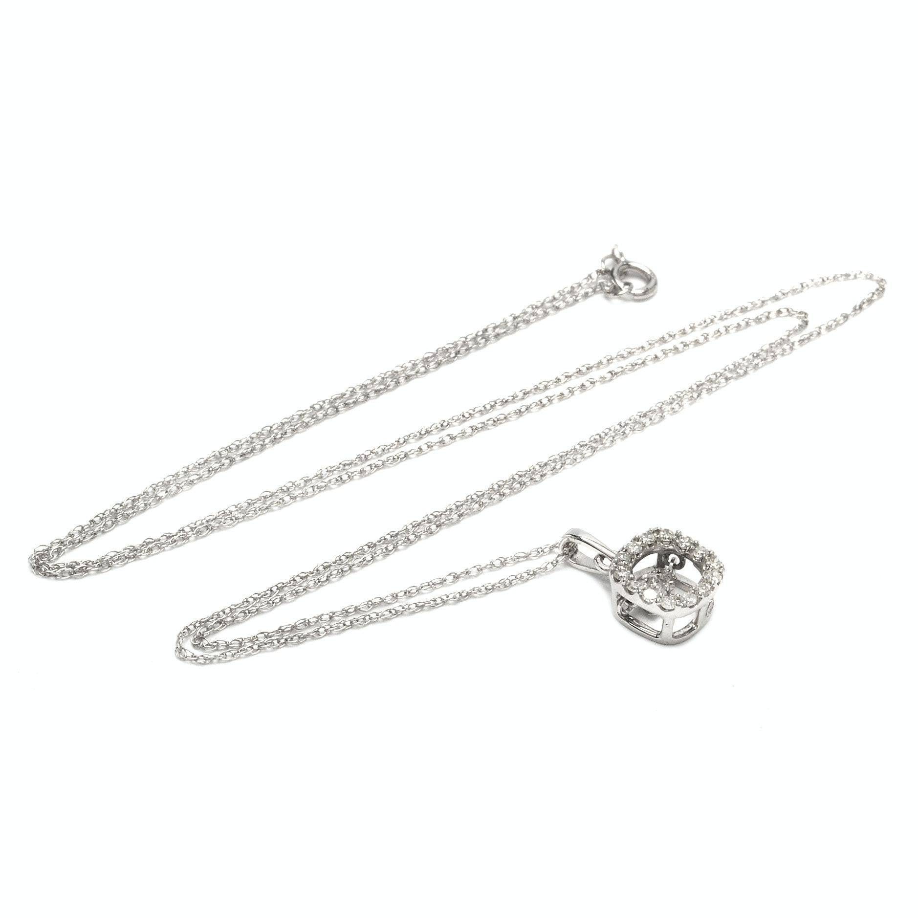 10K White Gold Love in Motion™ Diamond Pendant Necklace