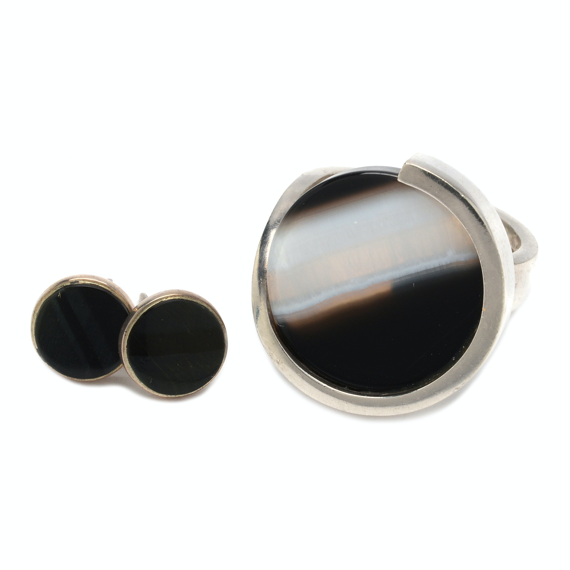 Jens Asby Design Danish Modern Sterling Silver Ring and Onyx Earrings