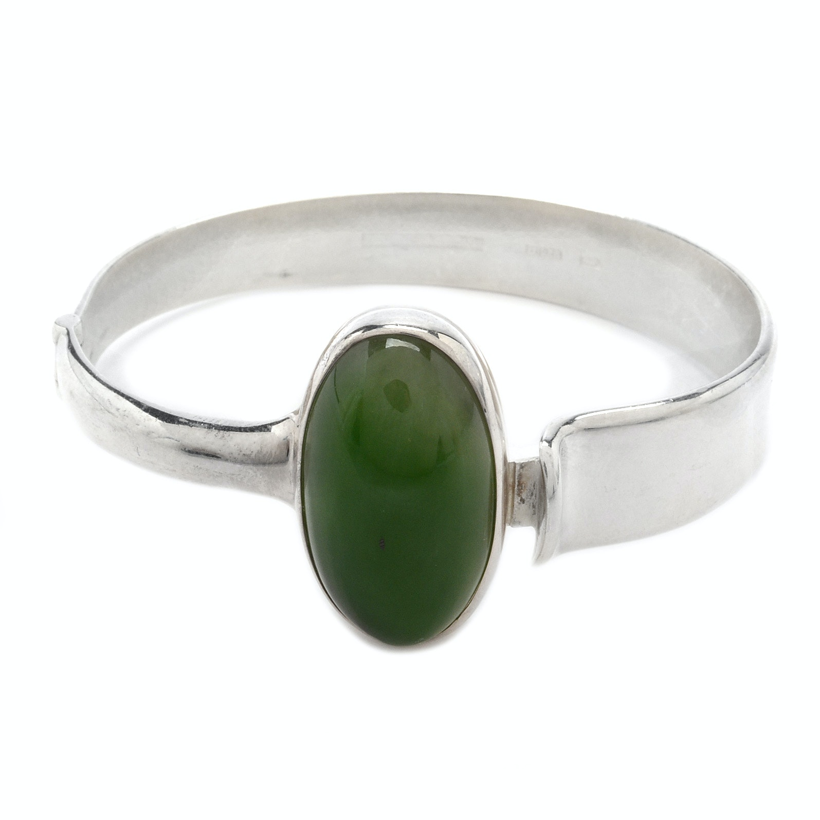 Modernist Sterling Silver and Nephrite Bracelet from Finland