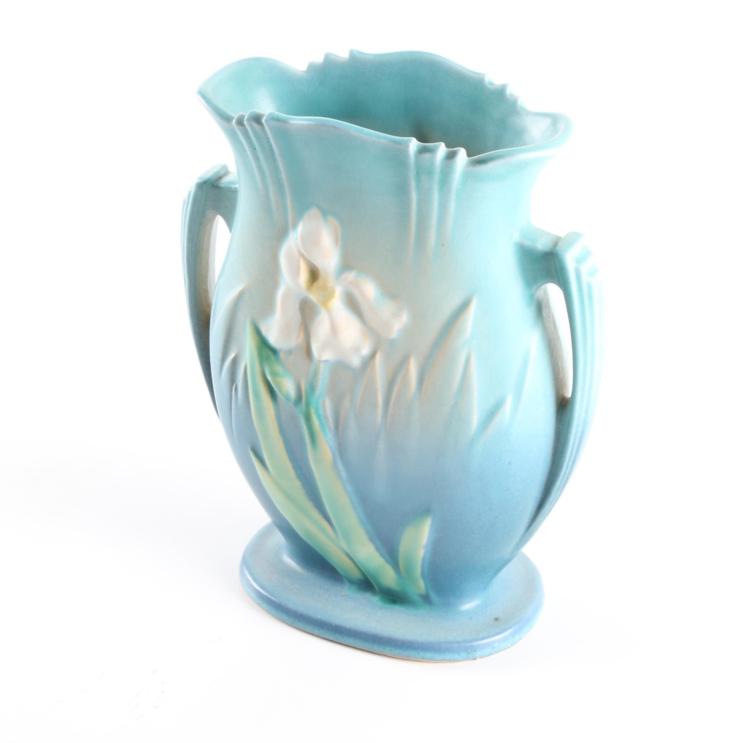 """Roseville Pottery """"Iris"""" Pillow Vase"""