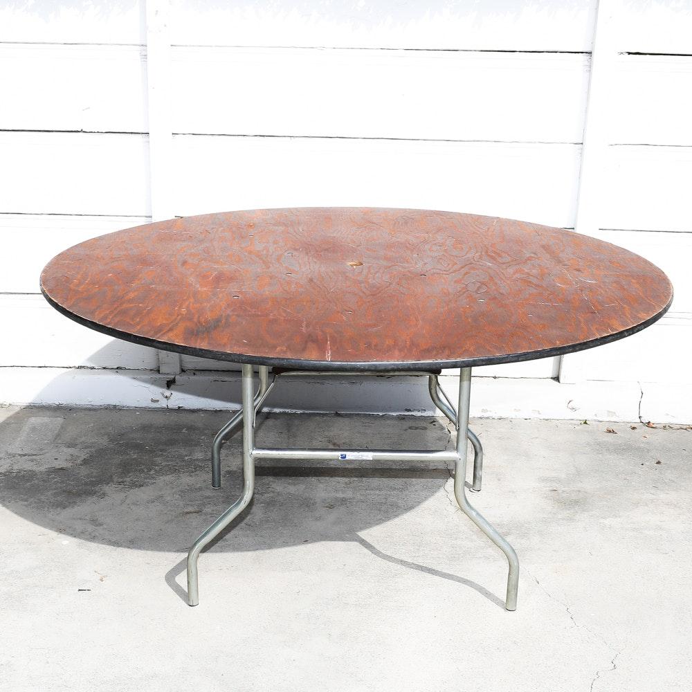"60"" Round Pine Folding Table"