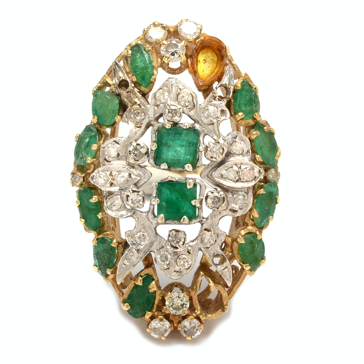 14K Yellow Gold Emerald and Diamond Statement Ring