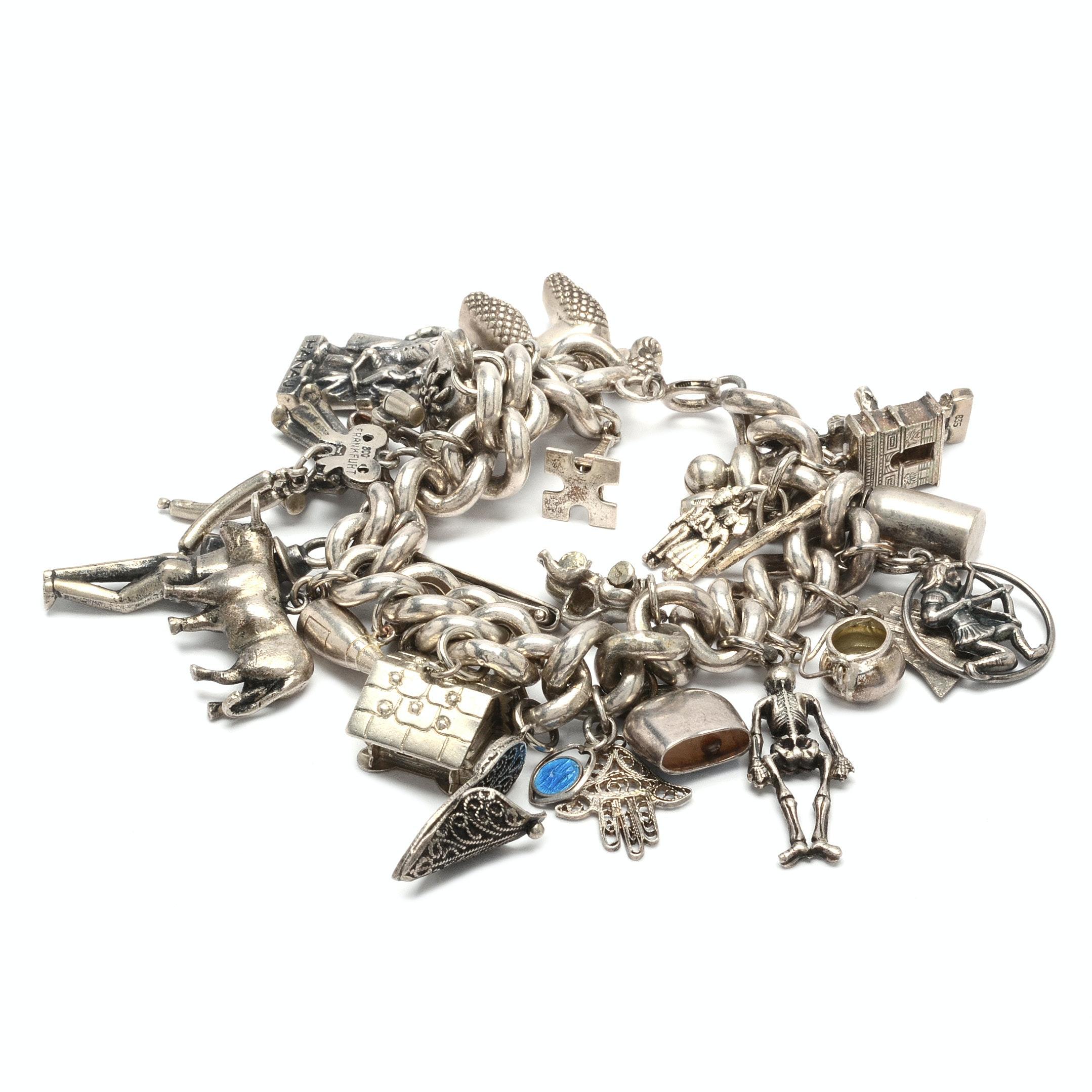 Vintage Sterling Silver 28-Charm Bracelet