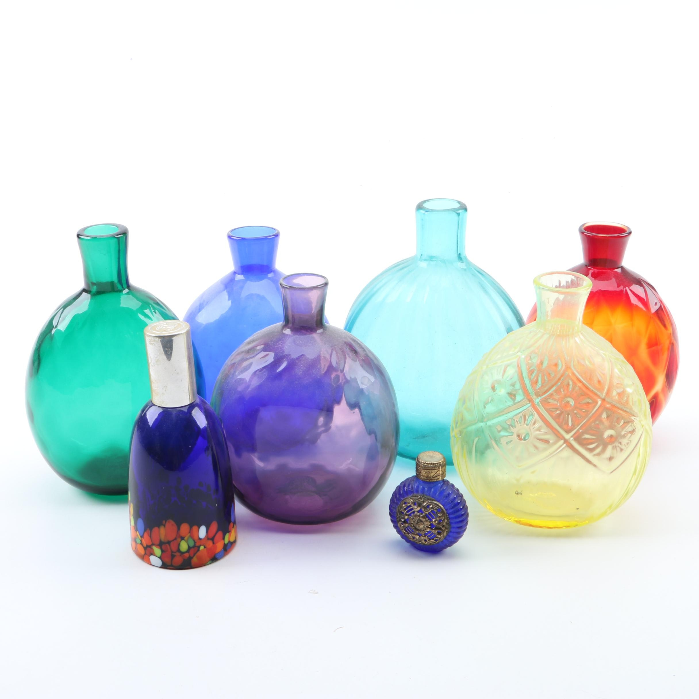 Henry William Stiegel Style Hand Blown Glass Pocket Bottles