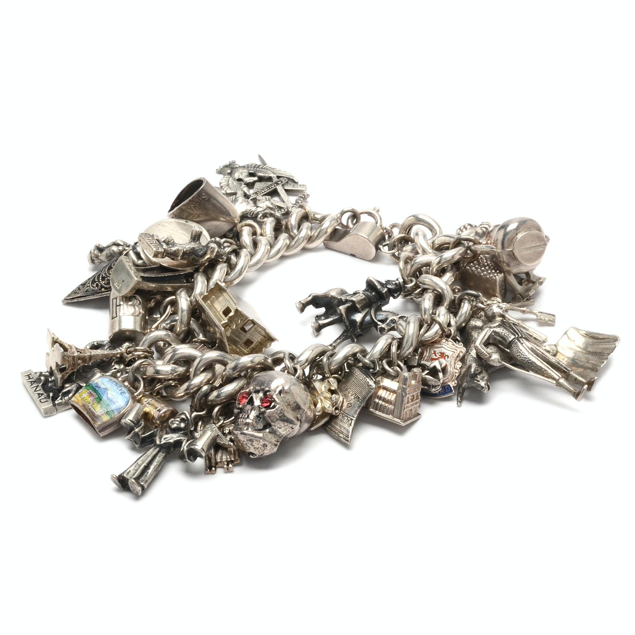 Vintage Sterling Silver 38-Charm Bracelet
