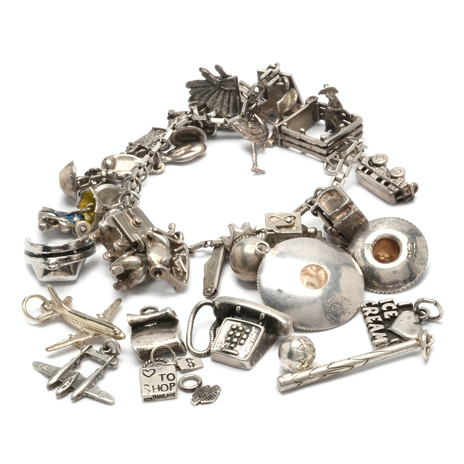 Vintage Sterling Silver Charm Bracelet and Loose Charms