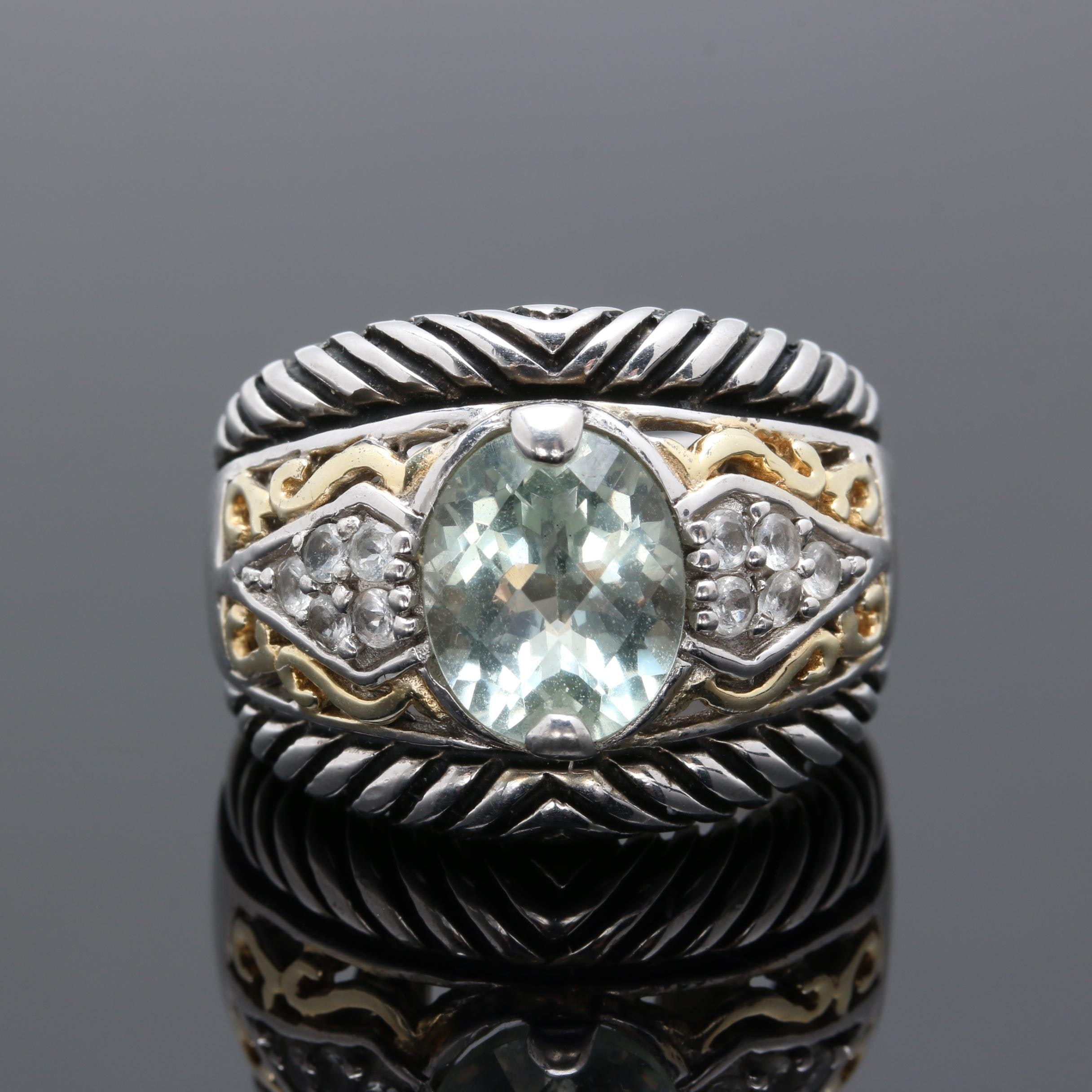 Sterling Silver Praseolite and White Topaz Ring